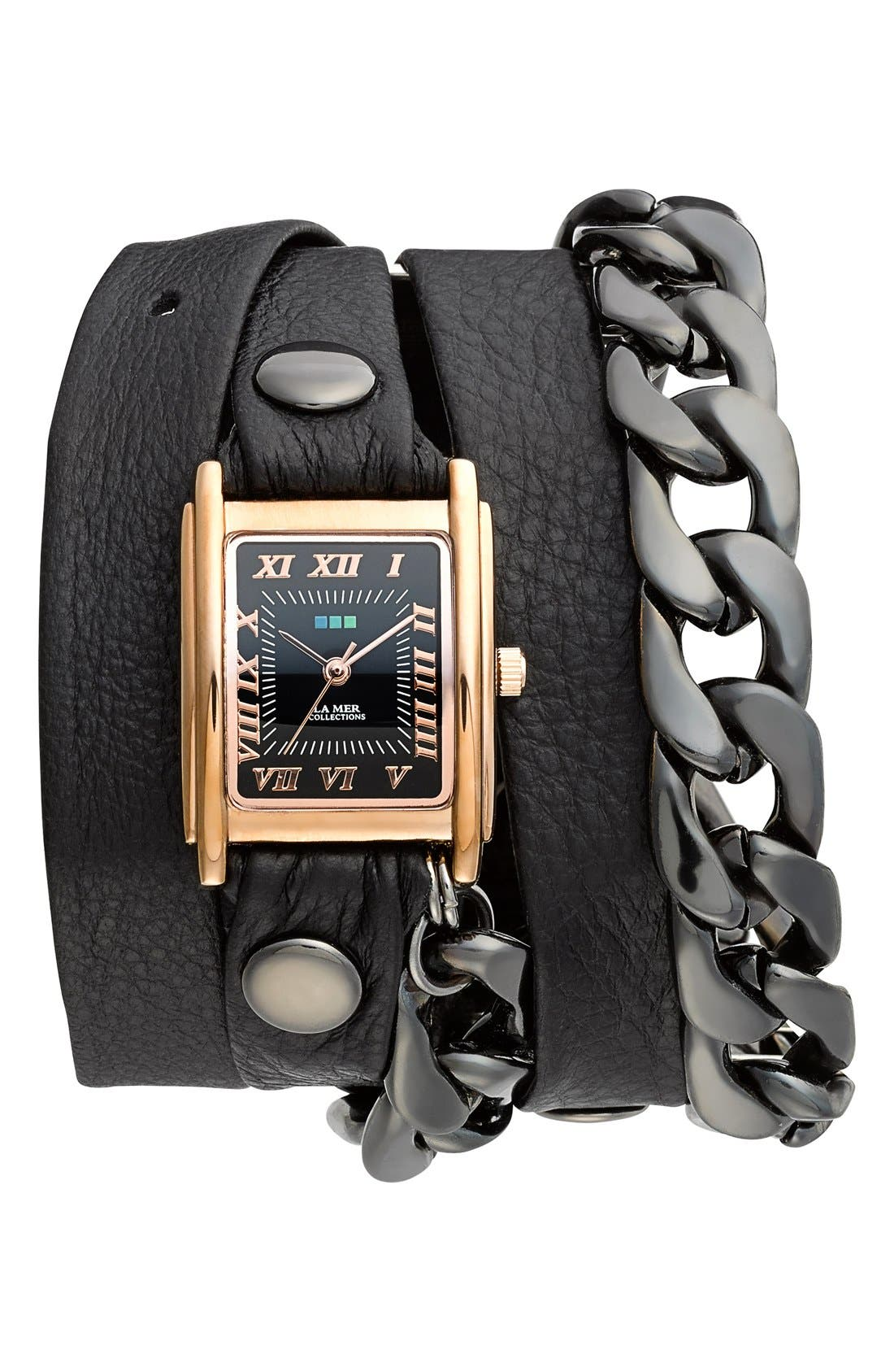 Main Image - La Mer Collections 'Gunmetal Malibu' Leather & Chain Wrap Bracelet Watch, 23mm x 30mm