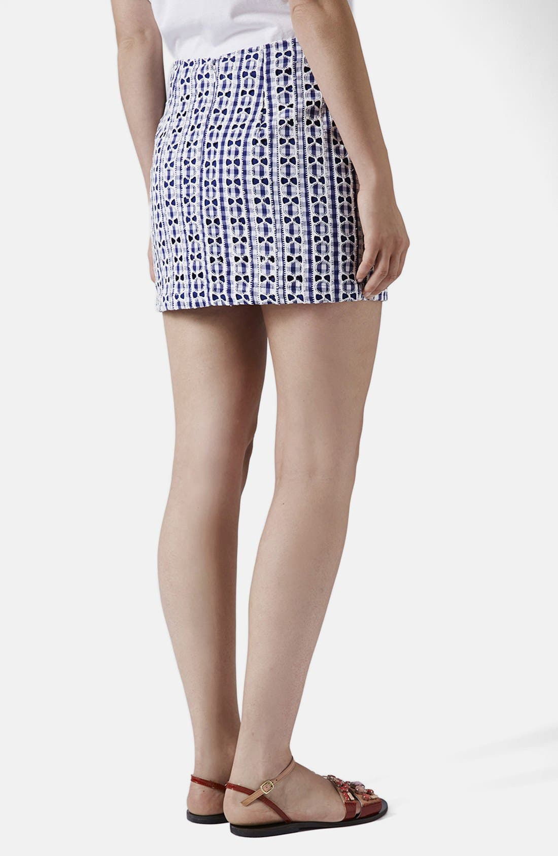 Alternate Image 2  - Topshop Lace Gingham Pelmet Skirt (Petite)