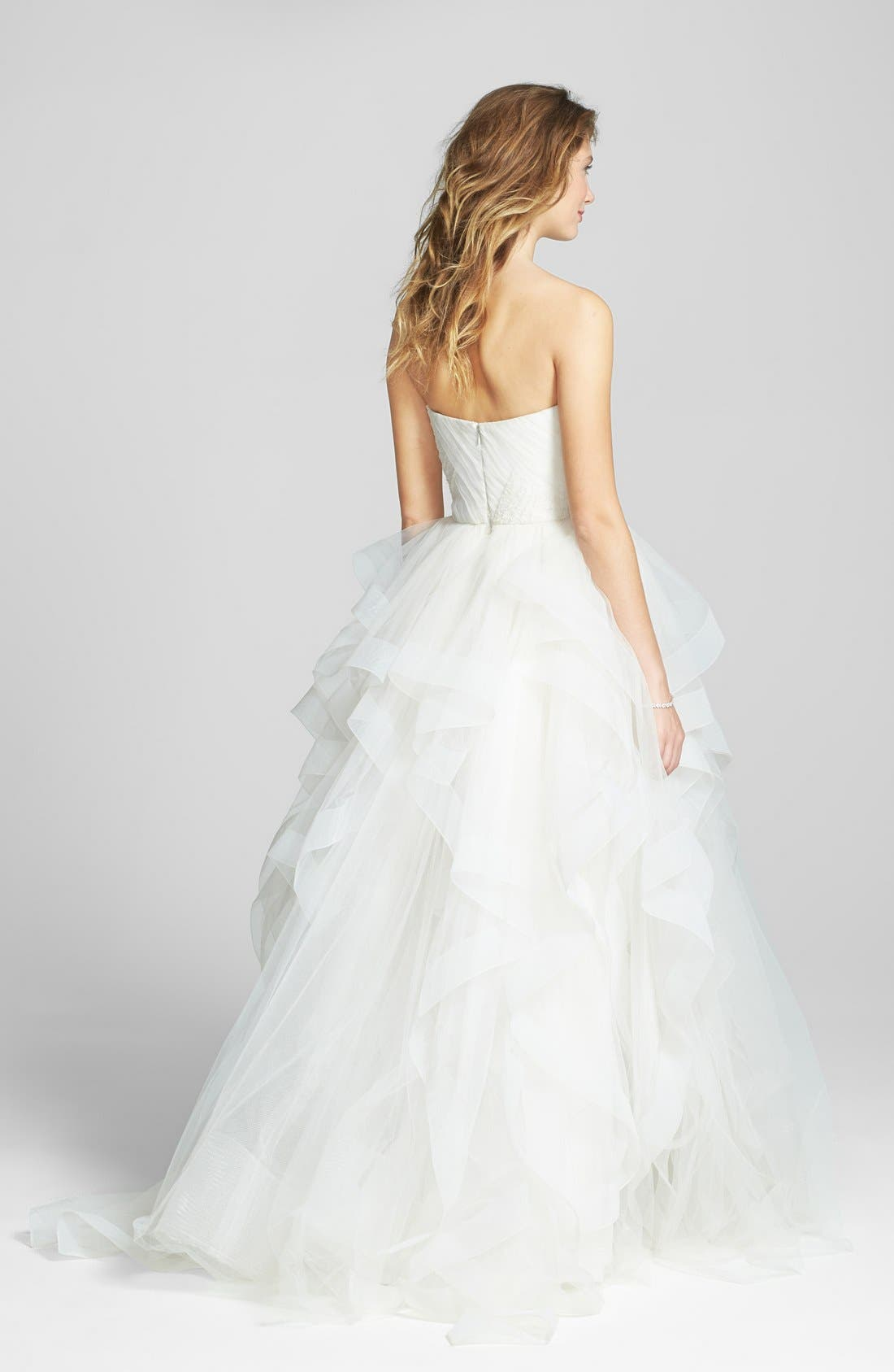 Alternate Image 2  - Reem Acra 'Eliza' Lace Detail Ruffled Tulle Wedding Dress (In Stores Only)