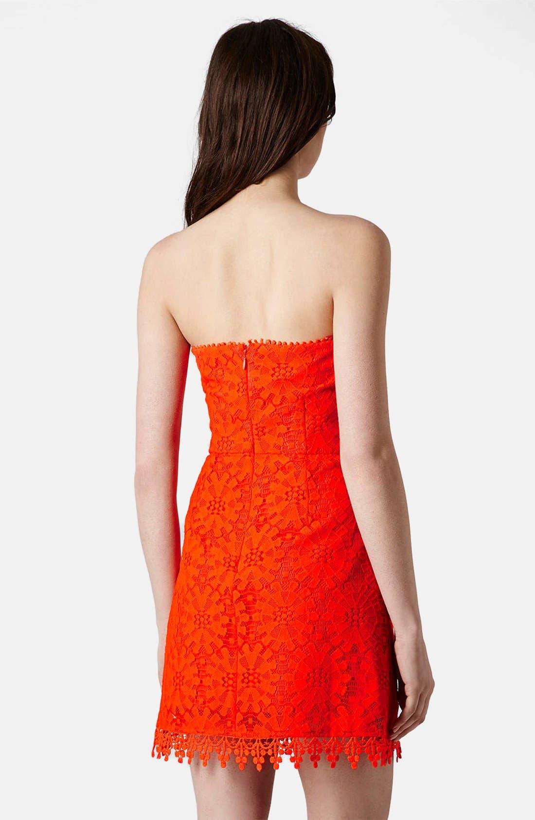 Alternate Image 2  - Topshop Wheel Lace Strapless Dress
