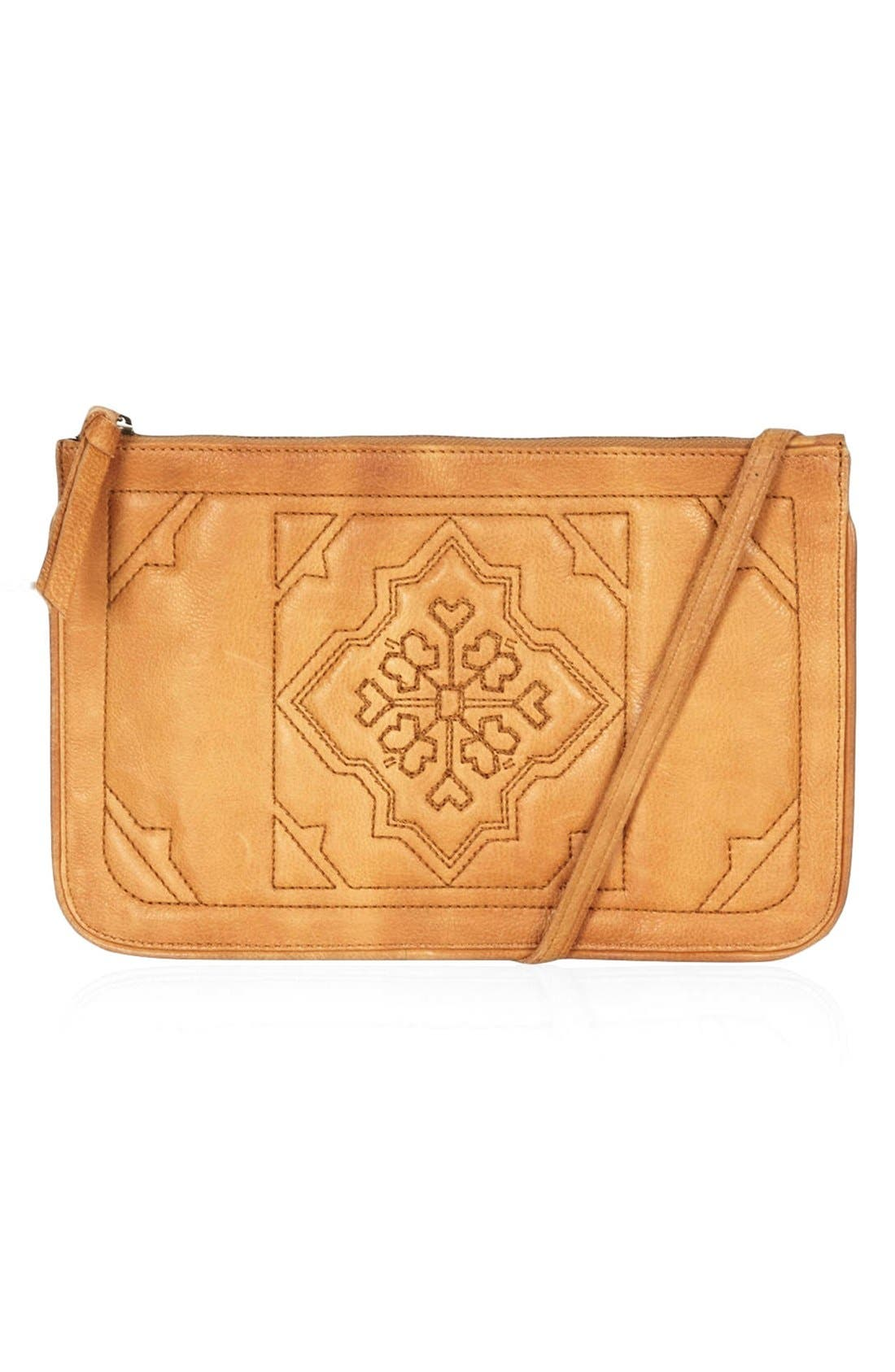 Main Image - Topshop Tile Quilted Leather Crossbody Bag