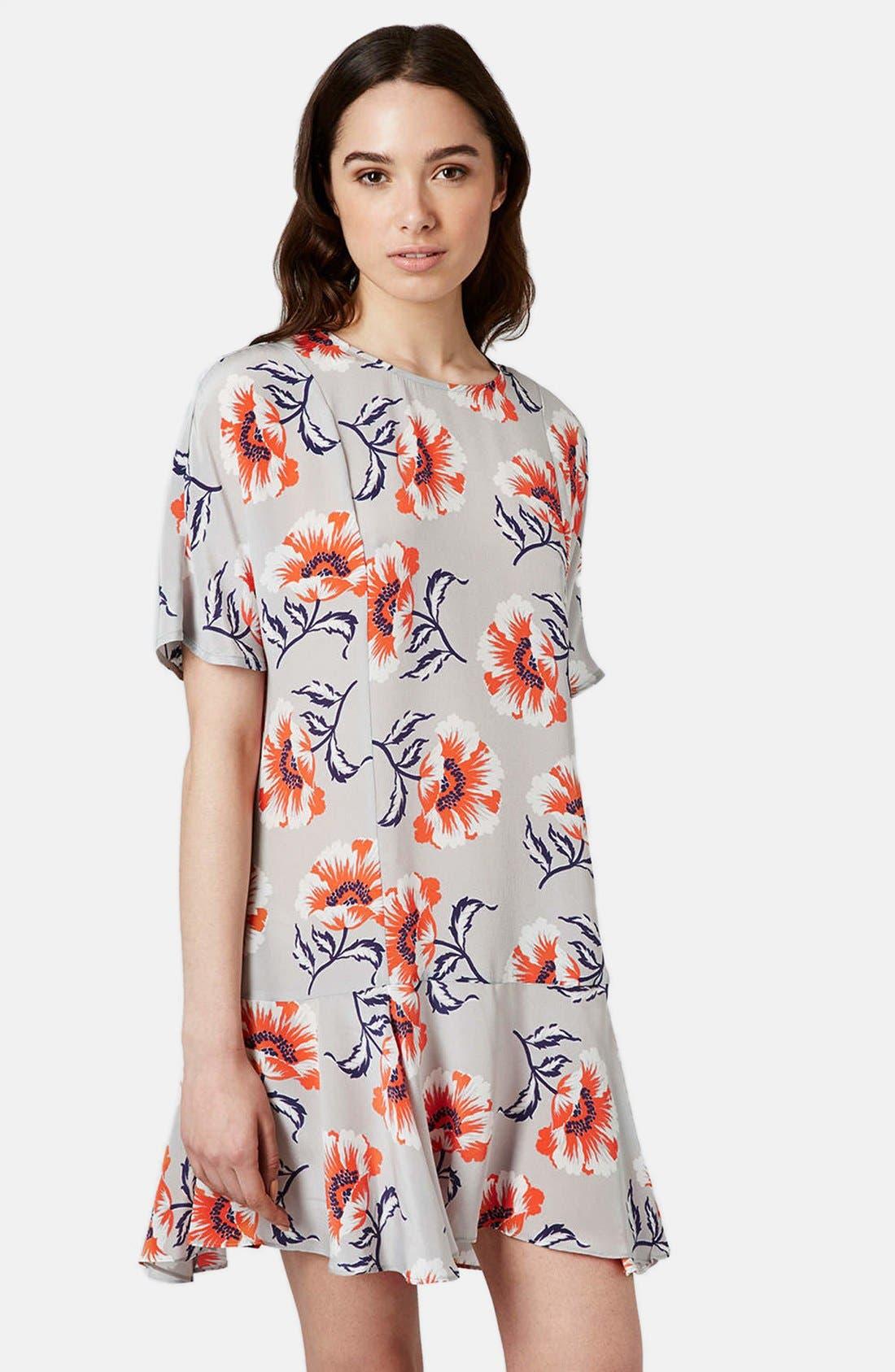 Alternate Image 1 Selected - Topshop Boutique Floral Print Silk Shift Dress