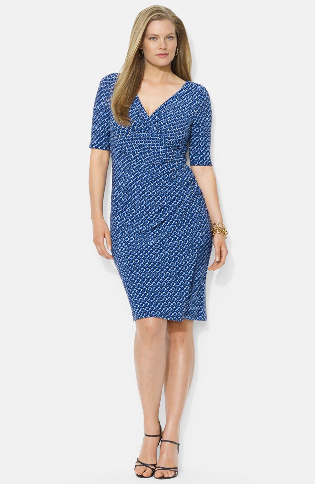 Main Image - Lauren Ralph Lauren Print Faux Wrap Matte Jersey Dress (Plus Size)
