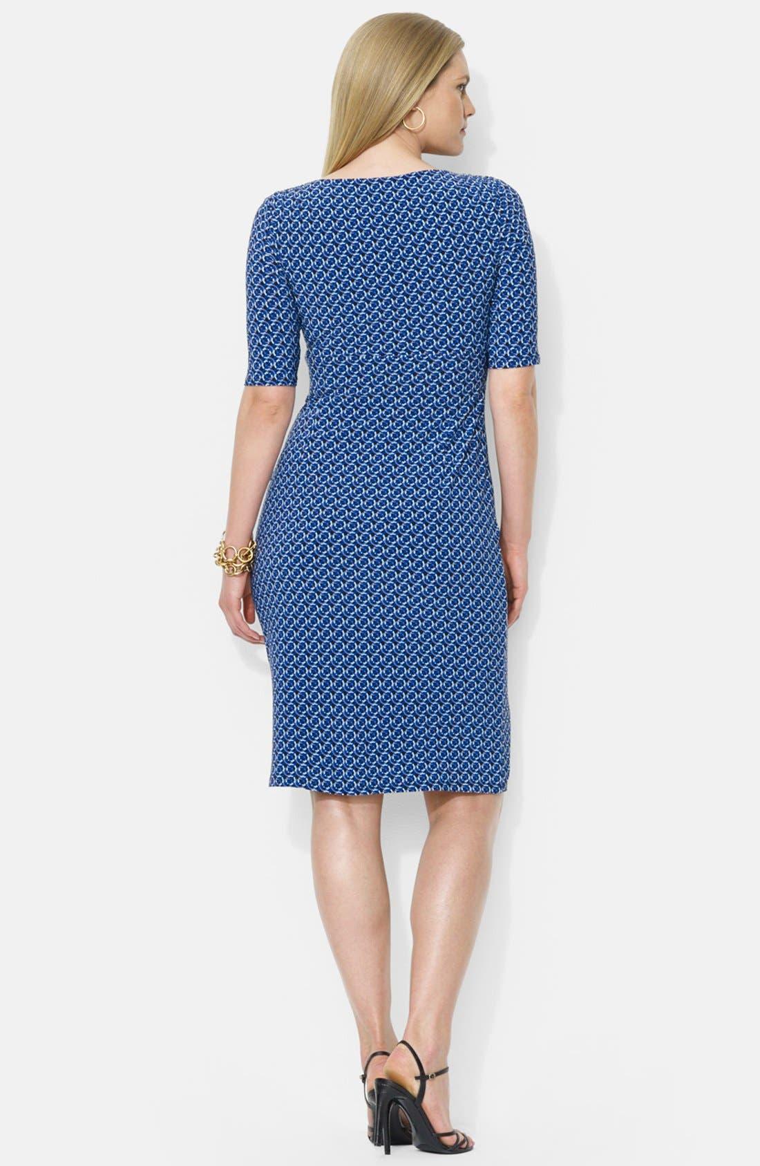 Alternate Image 2  - Lauren Ralph Lauren Print Faux Wrap Matte Jersey Dress (Plus Size)