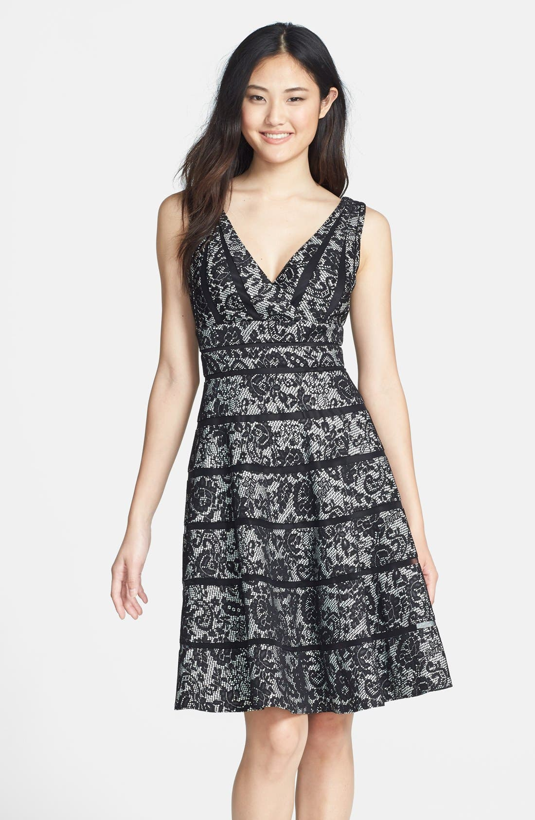 Main Image - JS Collections Stripe Bonded Lace Fit & Flare Dress