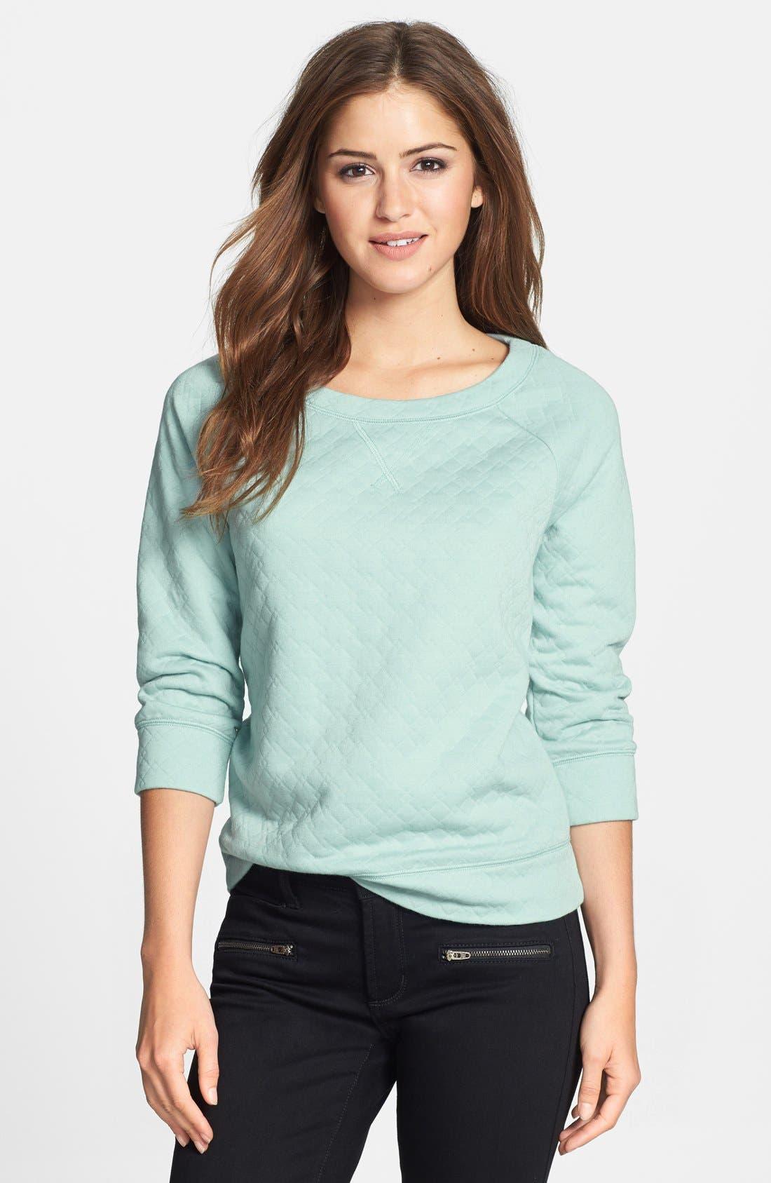 Main Image - Halogen® Quilted Sweatshirt (Petite)