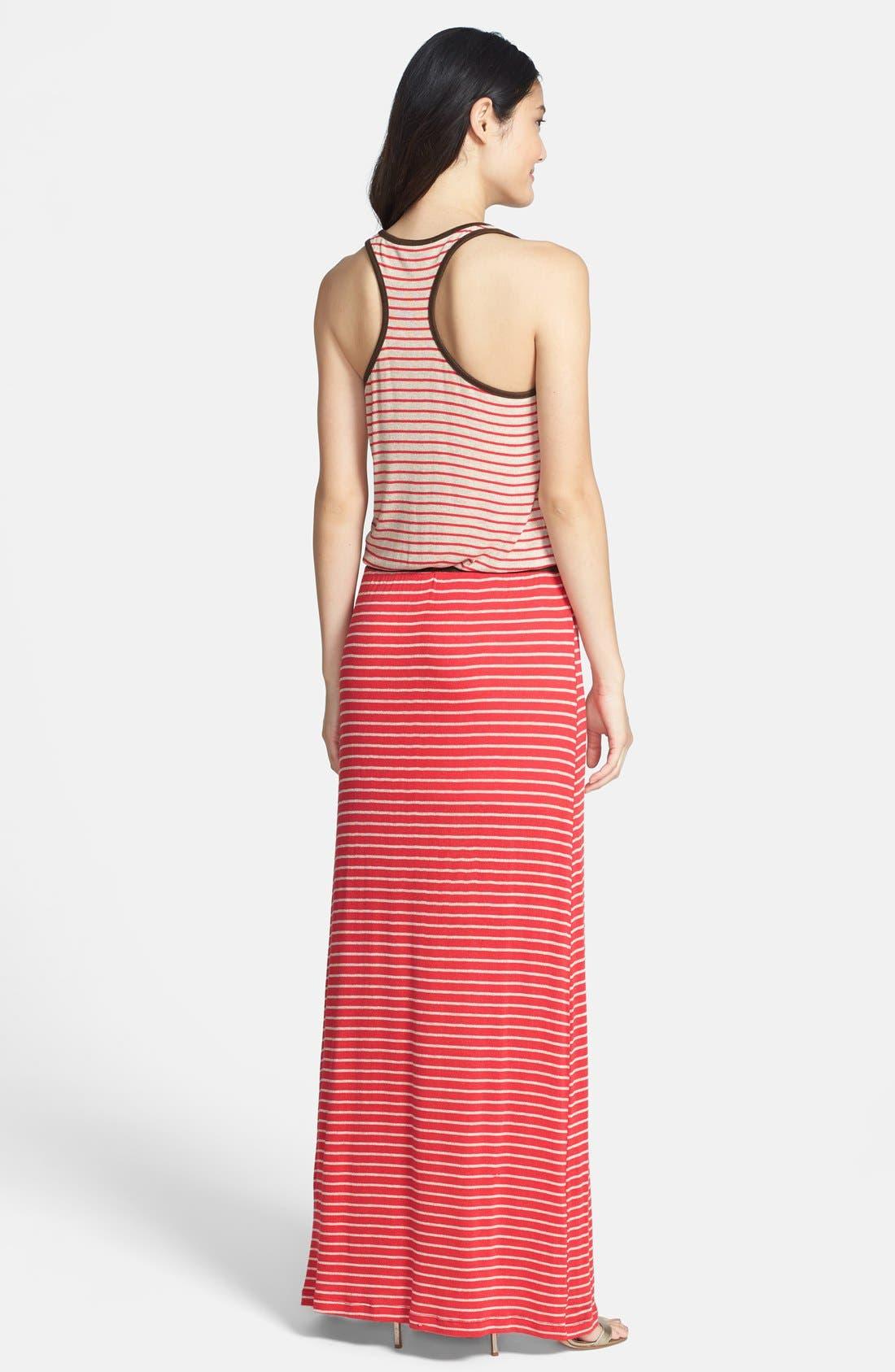 Alternate Image 2  - Tart 'Maris' Faux Suede Trim Stripe Maxi Dress