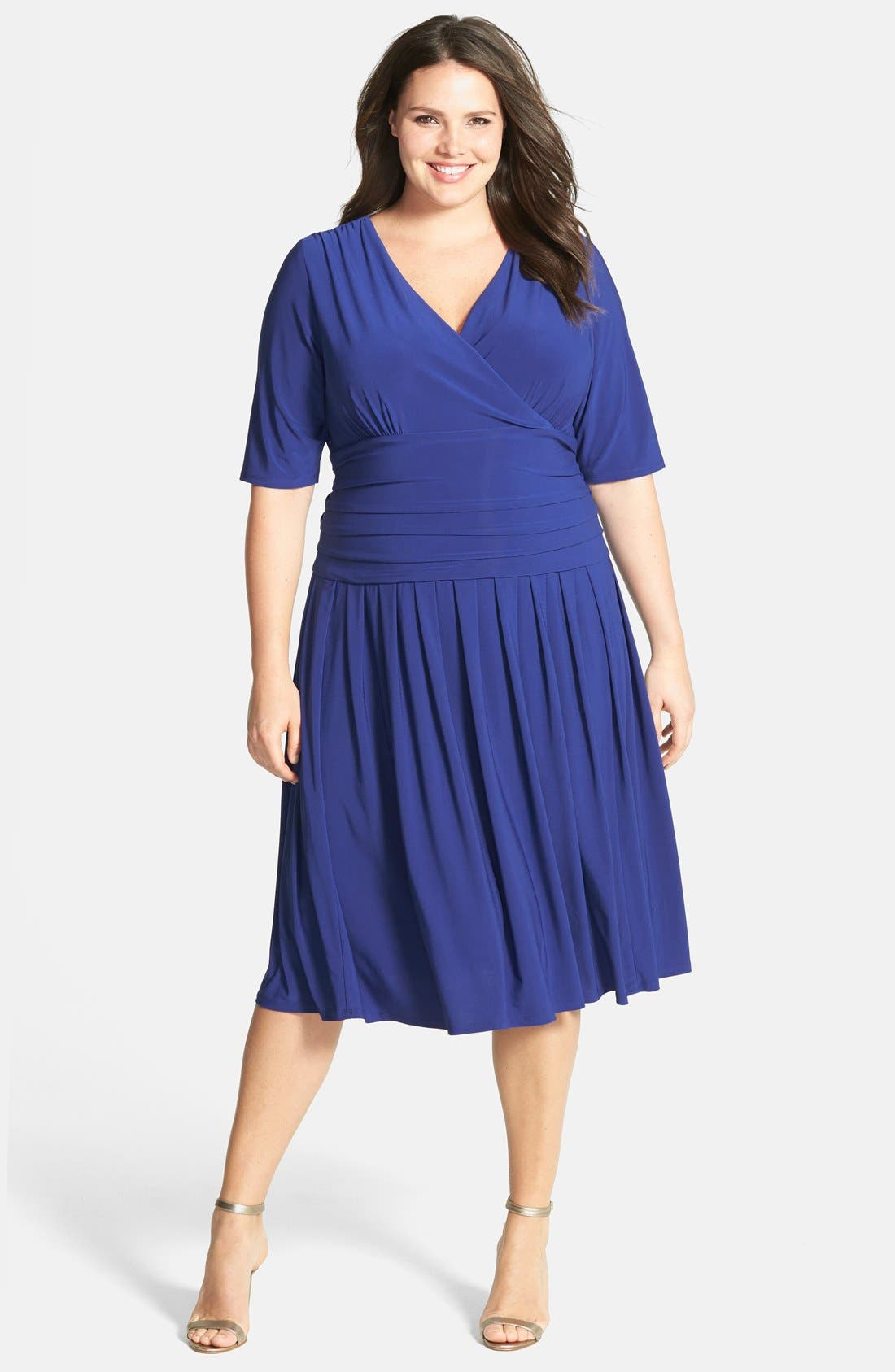 Main Image - Eliza J Ruched Stretch Knit Dress (Plus Size) (Online Only)