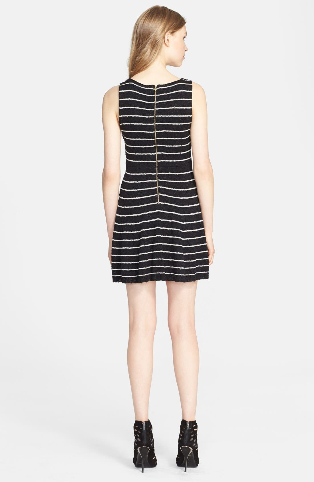 Alternate Image 2  - Alice + Olivia 'Monah' Stripe Fit & Flare Sweater Dress