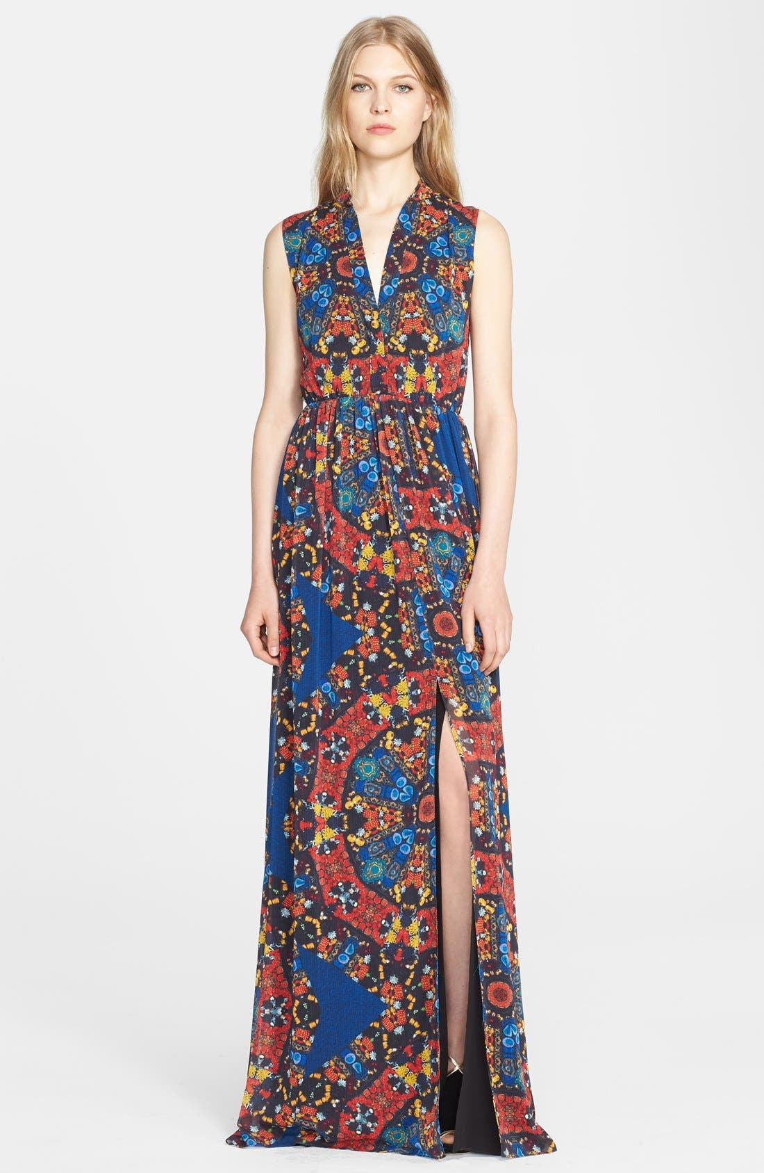Main Image - Alice + Olivia 'Marianna' Print Crinkled Chiffon Maxi Dress