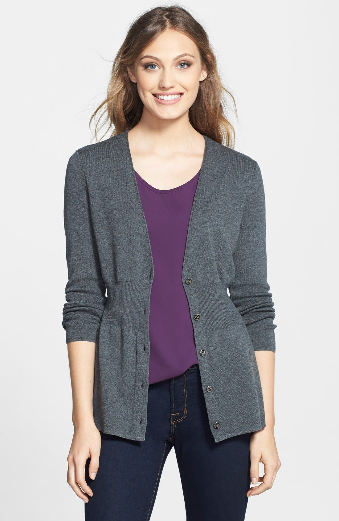 Alternate Image 1 Selected - NIC+ZOE 'Back of the Chair' V-Neck Cardigan (Petite)