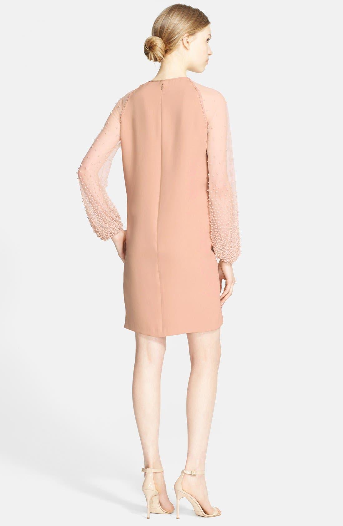 Alternate Image 2  - Naeem Khan Silk Georgette Dress with Hand Beaded Sleeves