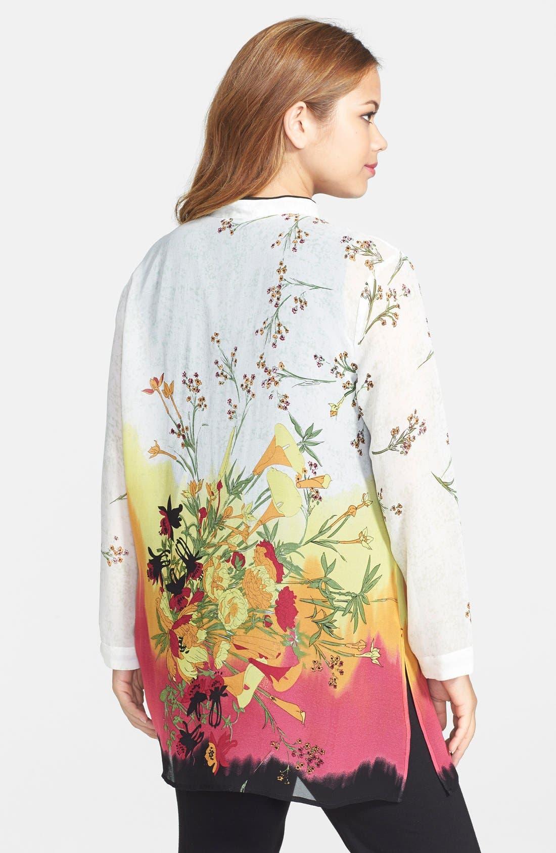 Alternate Image 2  - Citron Blouse Mandarin Collar Print Silk Tunic Blouse (Plus Size)
