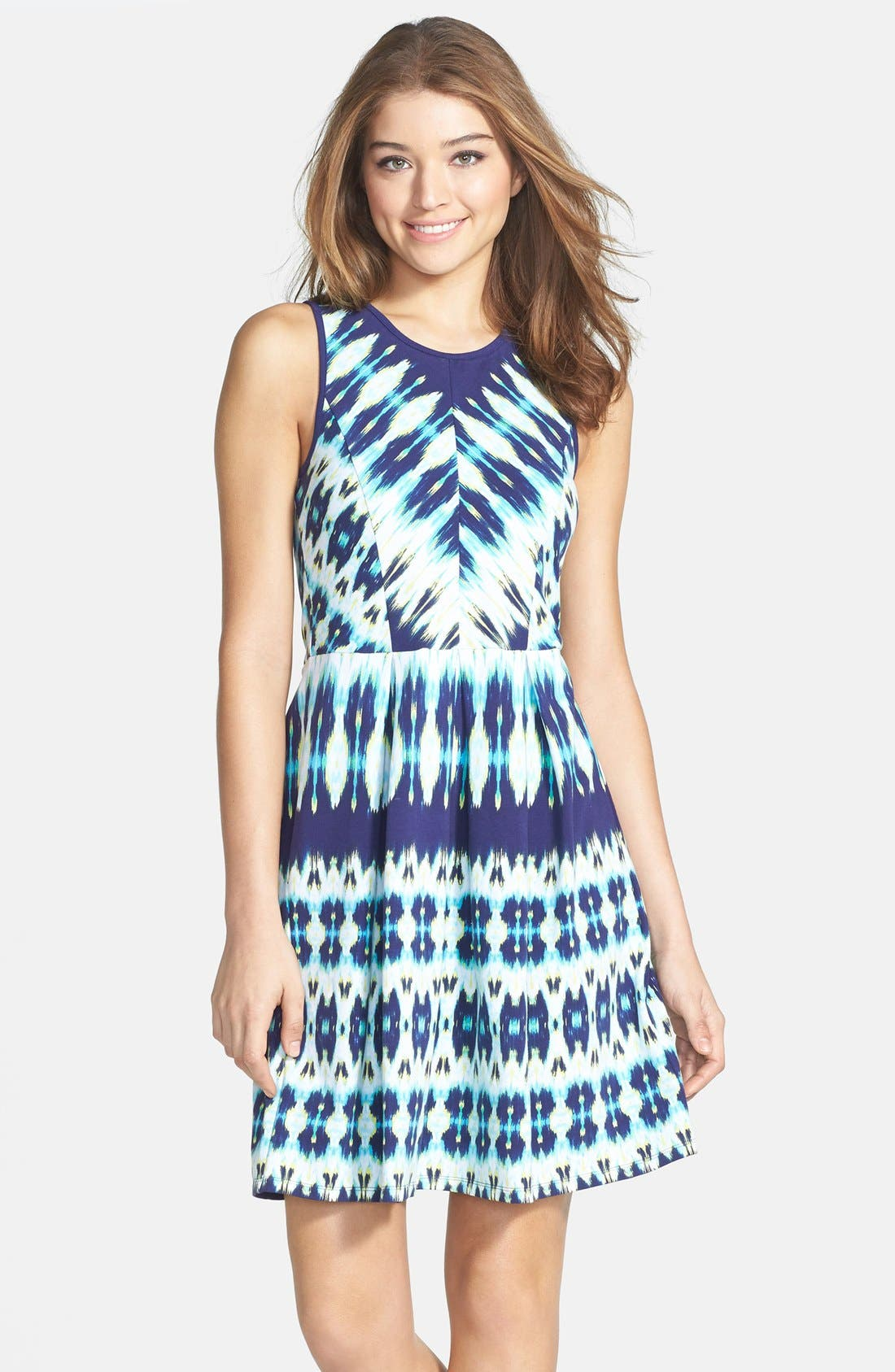 Alternate Image 1 Selected - Felicity & Coco Stripe Stretch Cotton Fit & Flare Dress (Nordstrom Exclusive)