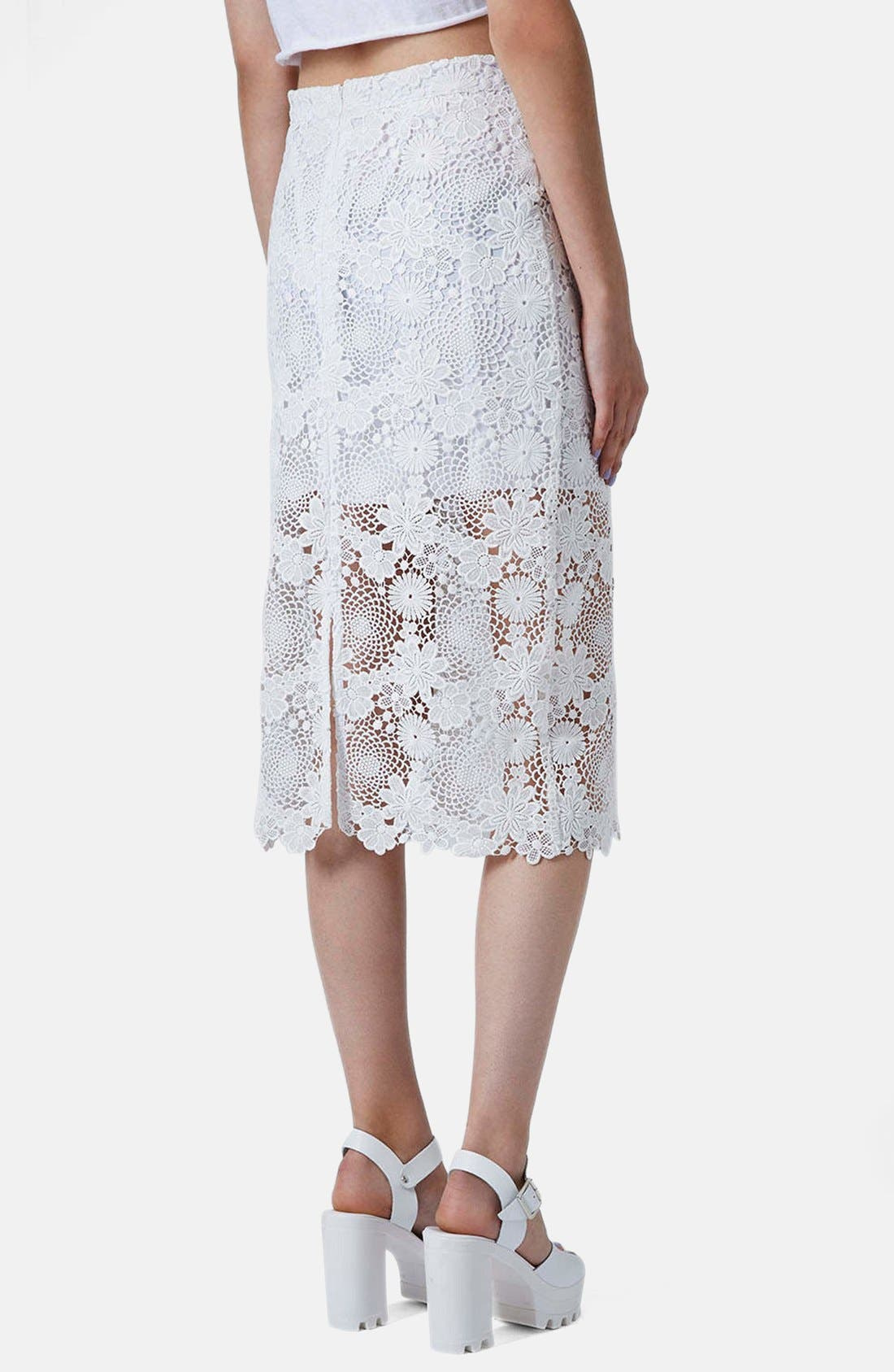 Alternate Image 2  - Topshop Lace Pencil Skirt