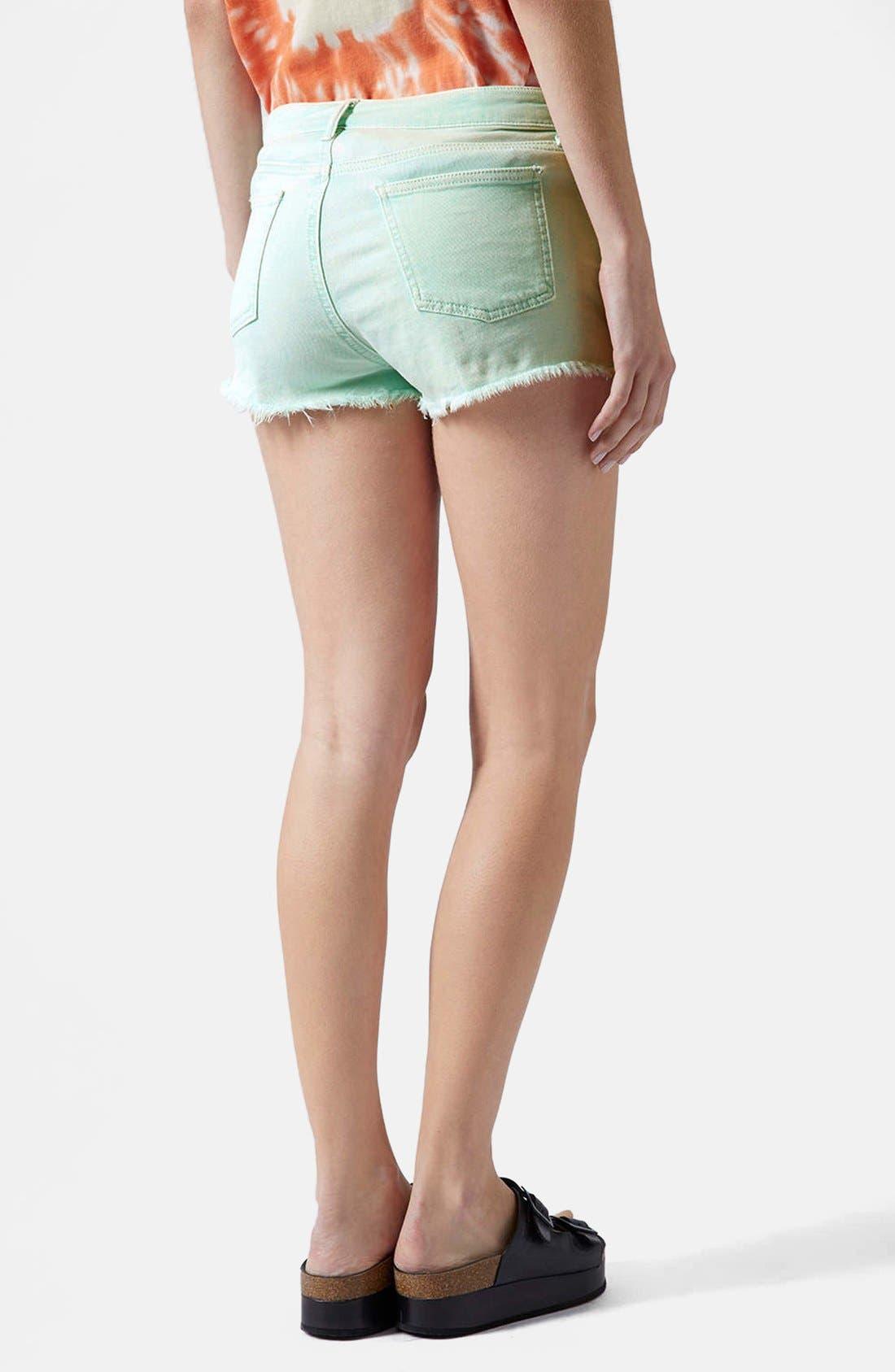 Alternate Image 2  - Topshop Moto 'Daisy' Denim Cutoff Shorts (Mint)