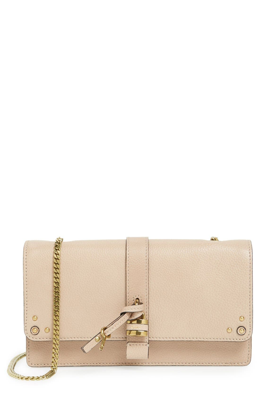 Main Image - Chloé 'Aurore' Calfskin Leather Wallet on a Chain