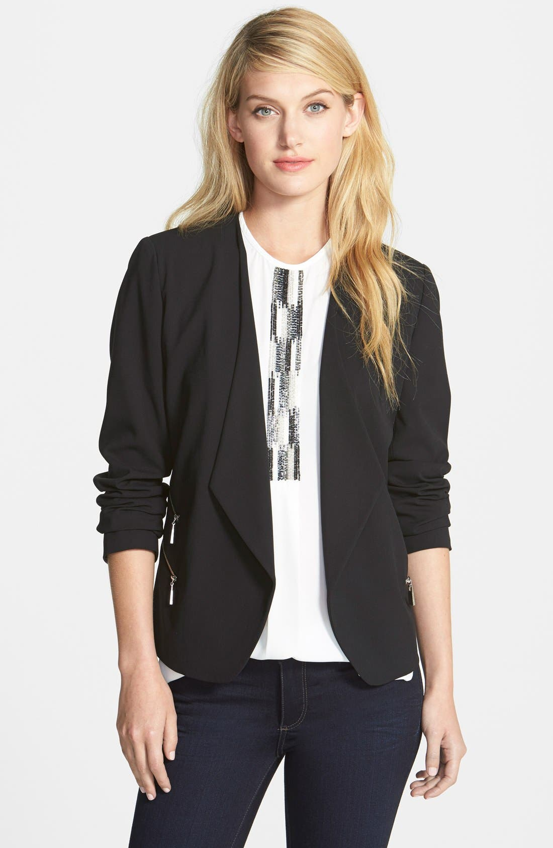 Main Image - Vince Camuto Collarless Double Zip Pocket Jacket