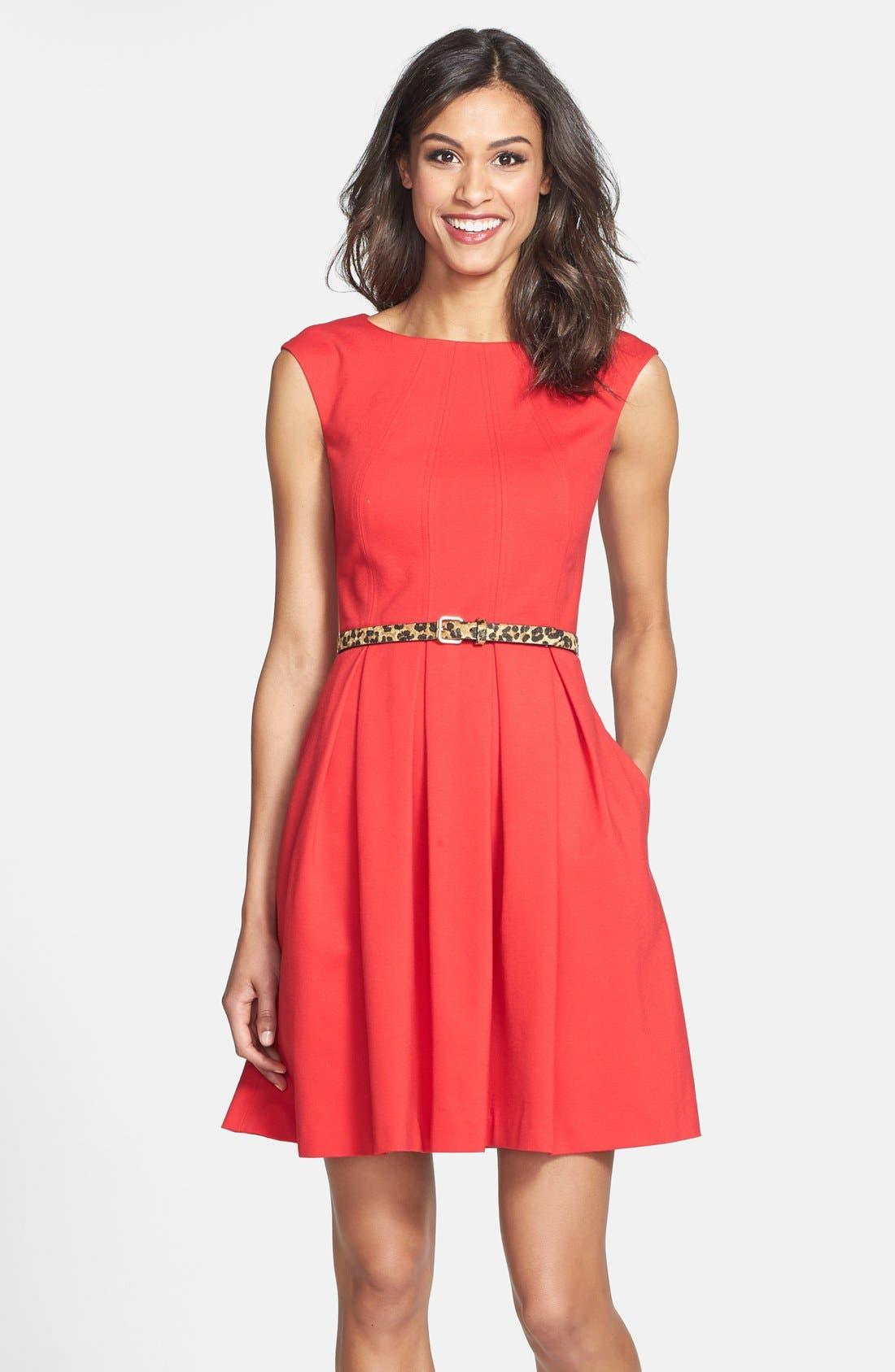 Main Image - Eliza J Cutout Back Belted Ponte Knit Fit & Flare Dress