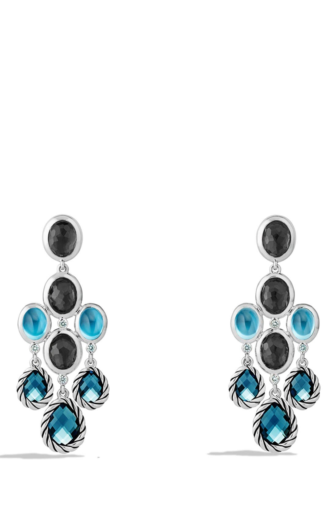 Alternate Image 1 Selected - David Yurman 'Mosaic - Color Classic' Chandelier Earrings with Hampton Blue Topaz, Black Orchid & Gray Sapphires