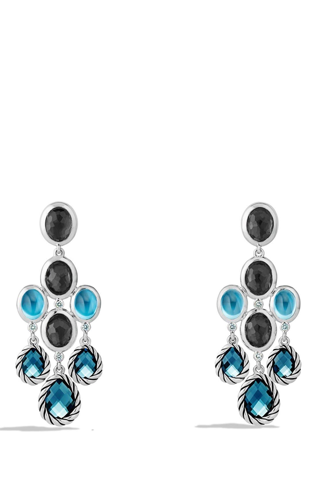 Main Image - David Yurman 'Mosaic - Color Classic' Chandelier Earrings with Hampton Blue Topaz, Black Orchid & Gray Sapphires