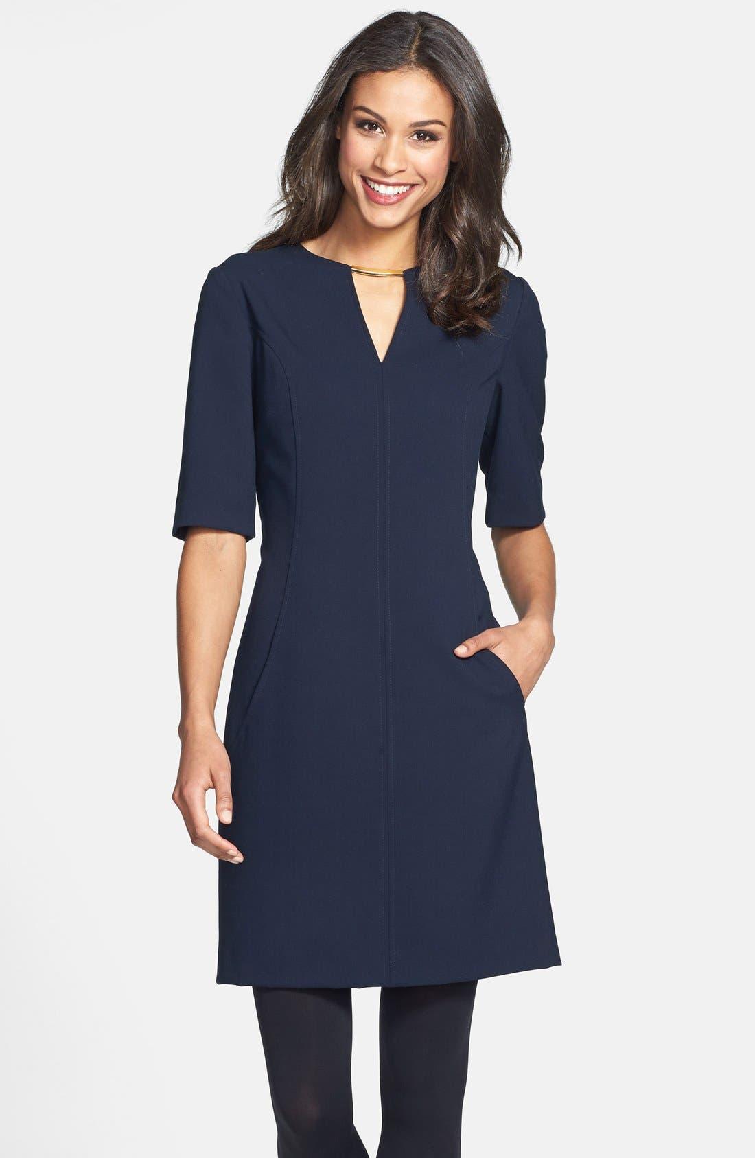 Alternate Image 1 Selected - Tahari V-Neck Shift Dress (Regular & Petite) (Online Only)