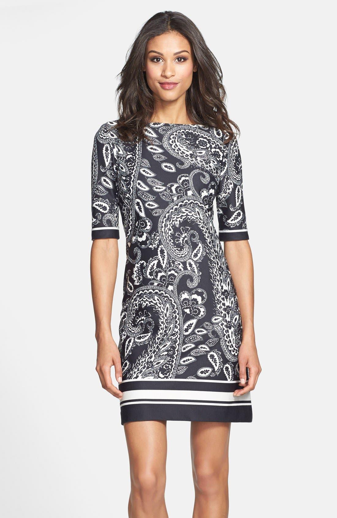 Main Image - Eliza J Print Ponte Knit Shift Dress (Online Only)