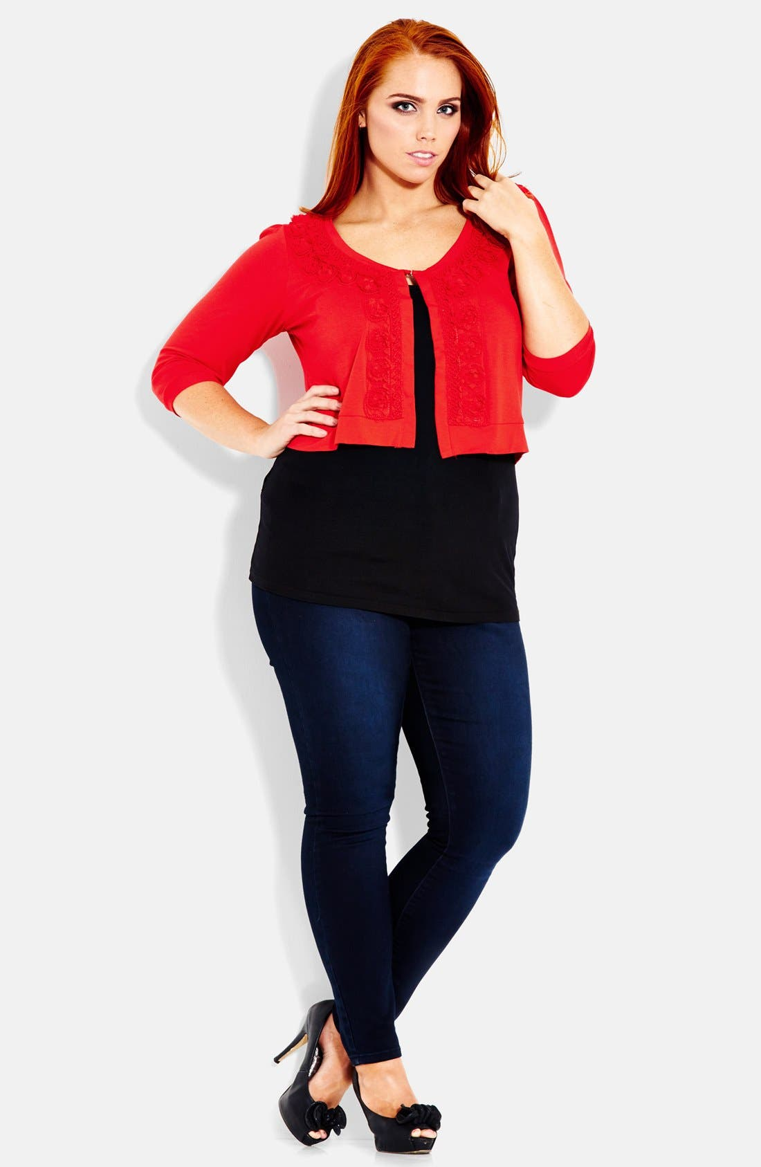 Alternate Image 1 Selected - City Chic 'Fancy' Cropped Knit Cardigan (Plus Size)