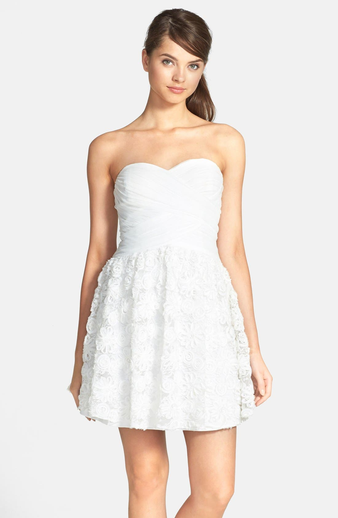 Main Image - Hailey by Adrianna Papell Strapless Floral Embroidered Dress