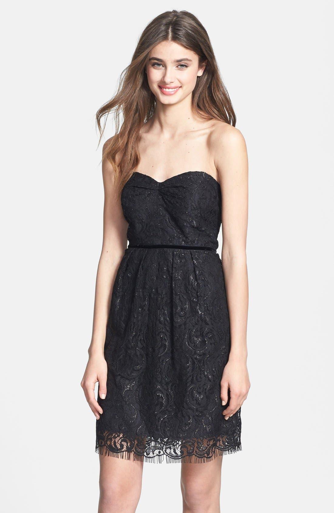 Alternate Image 1 Selected - Jenny Yoo 'Hudson' Metallic Lace Sheath Dress (Online Only)