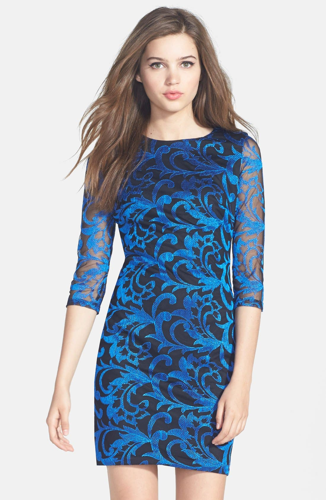 Alternate Image 1 Selected - Alexia Admor Embroidered Mesh Body-Con Dress