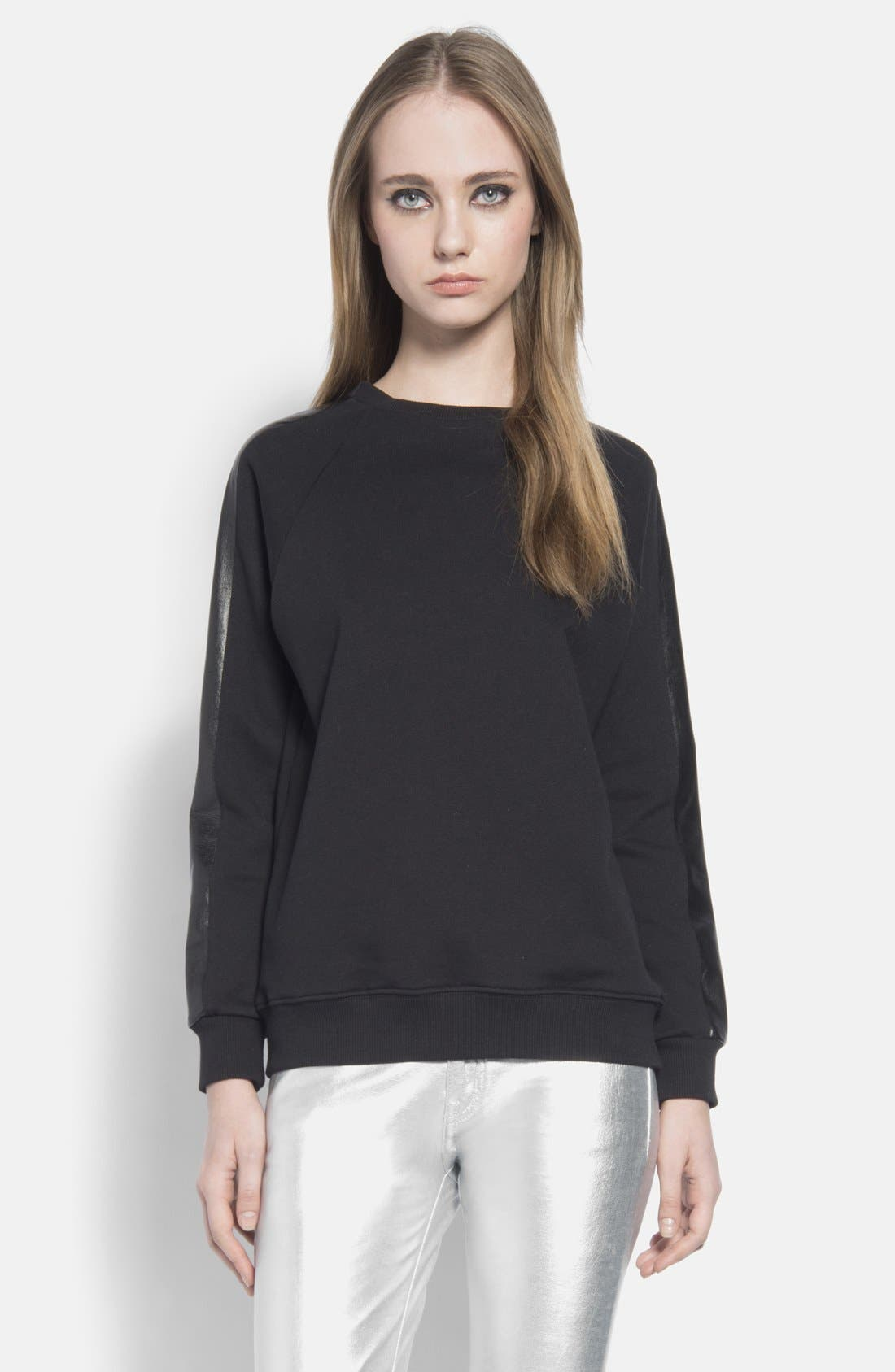 Main Image - Saint Laurent French Terry Crewneck Sweatshirt with Leather Trim