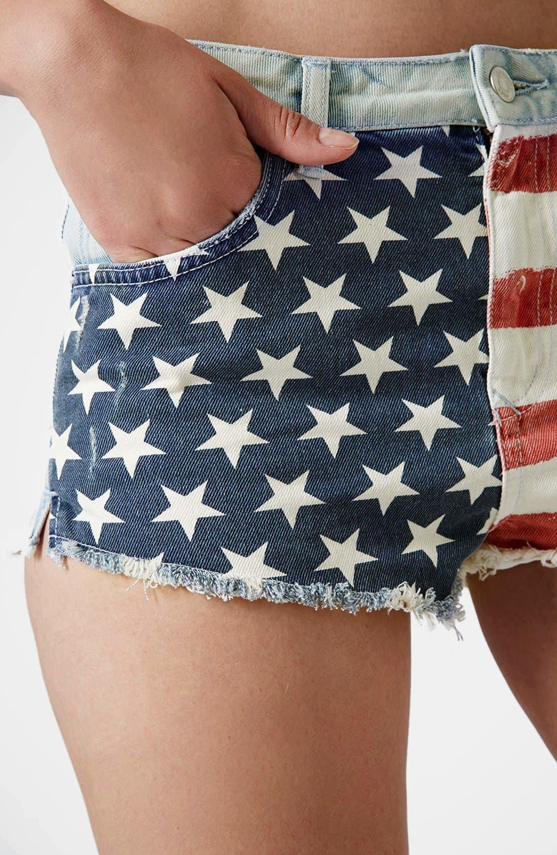 Alternate Image 4  - Topshop Flag Front Shorts