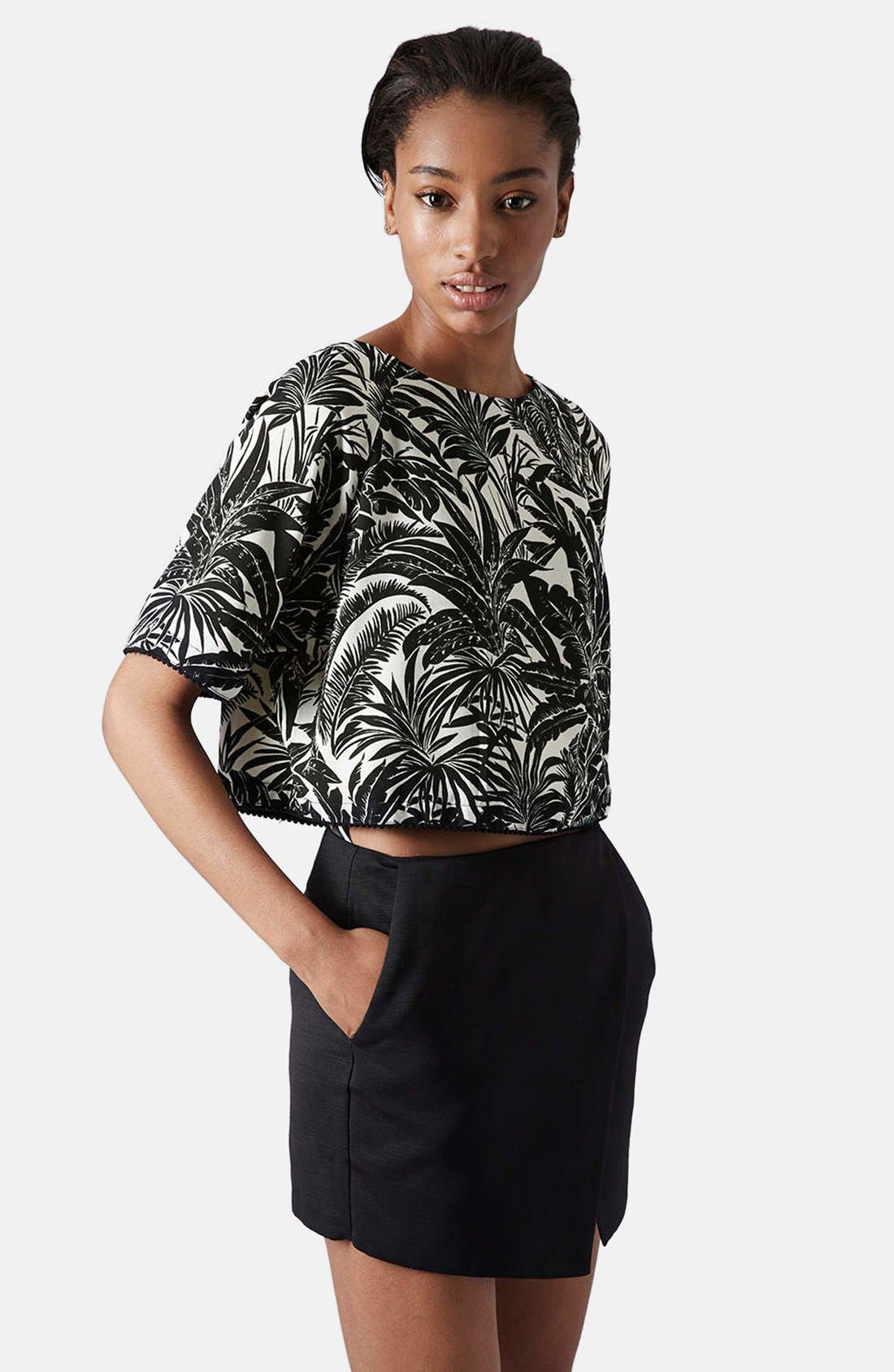 Alternate Image 1 Selected - Topshop Tropical Print Raglan Tee