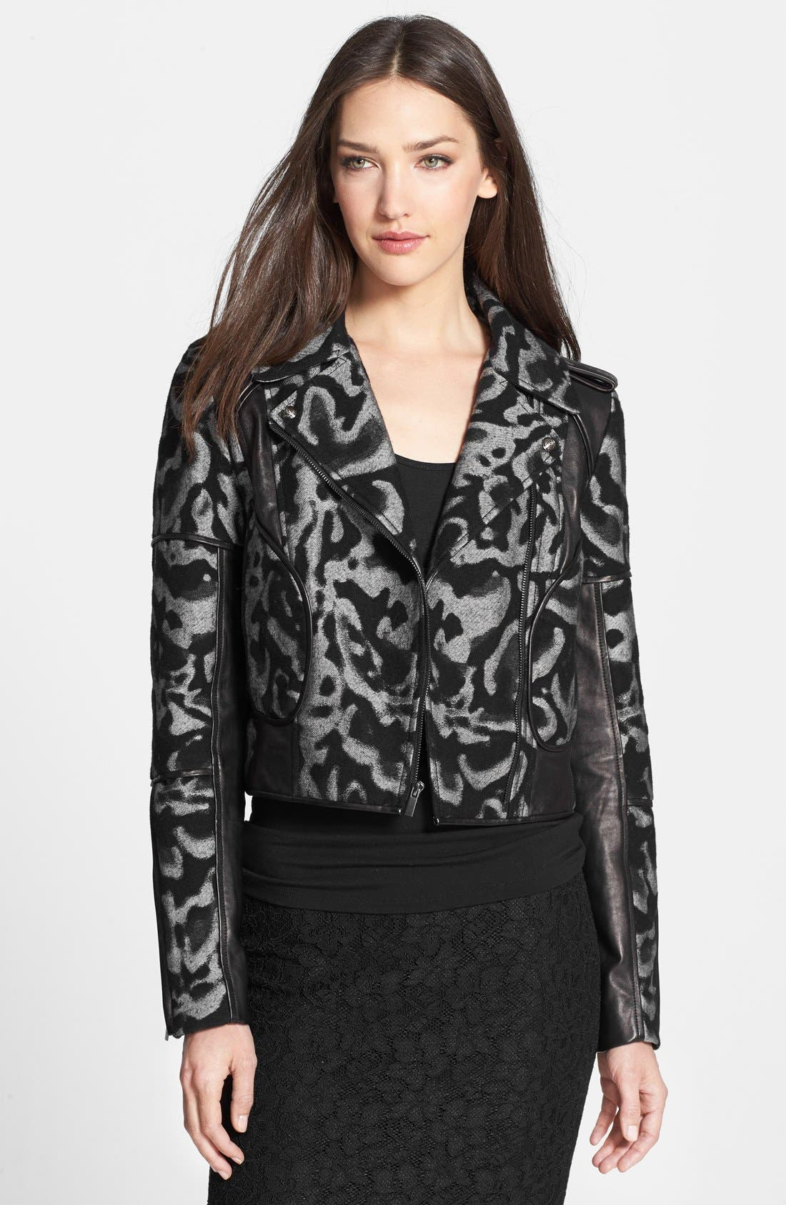 Alternate Image 1 Selected - Diane von Furstenberg 'Theodora Leo' Leather Accent Jacket