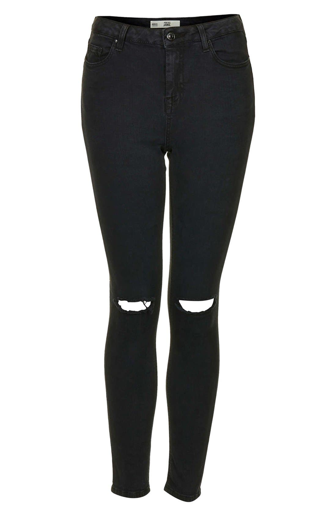 Alternate Image 3  - Topshop Moto 'Jamie' Dark Wash Ripped Slim Jeans (Black) (Short & Regular)