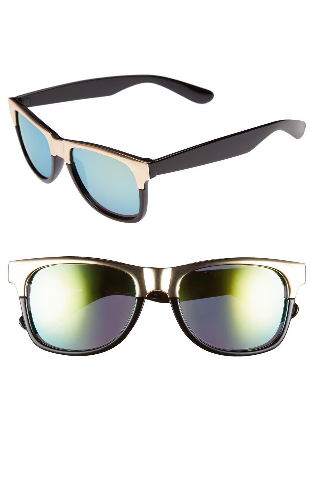 Alternate Image 1 Selected - FE NY 54mm Metallic Browline Sunglasses