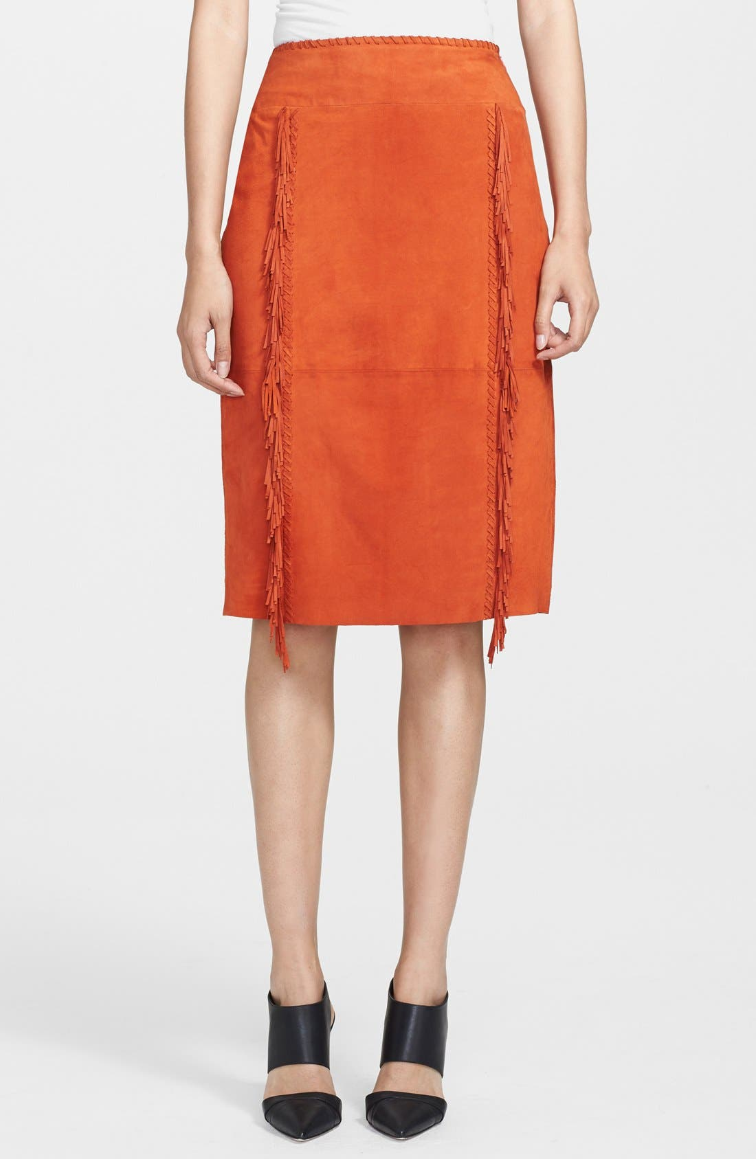 Alternate Image 1 Selected - Tamara Mellon Fringe Detail Suede Pencil Skirt