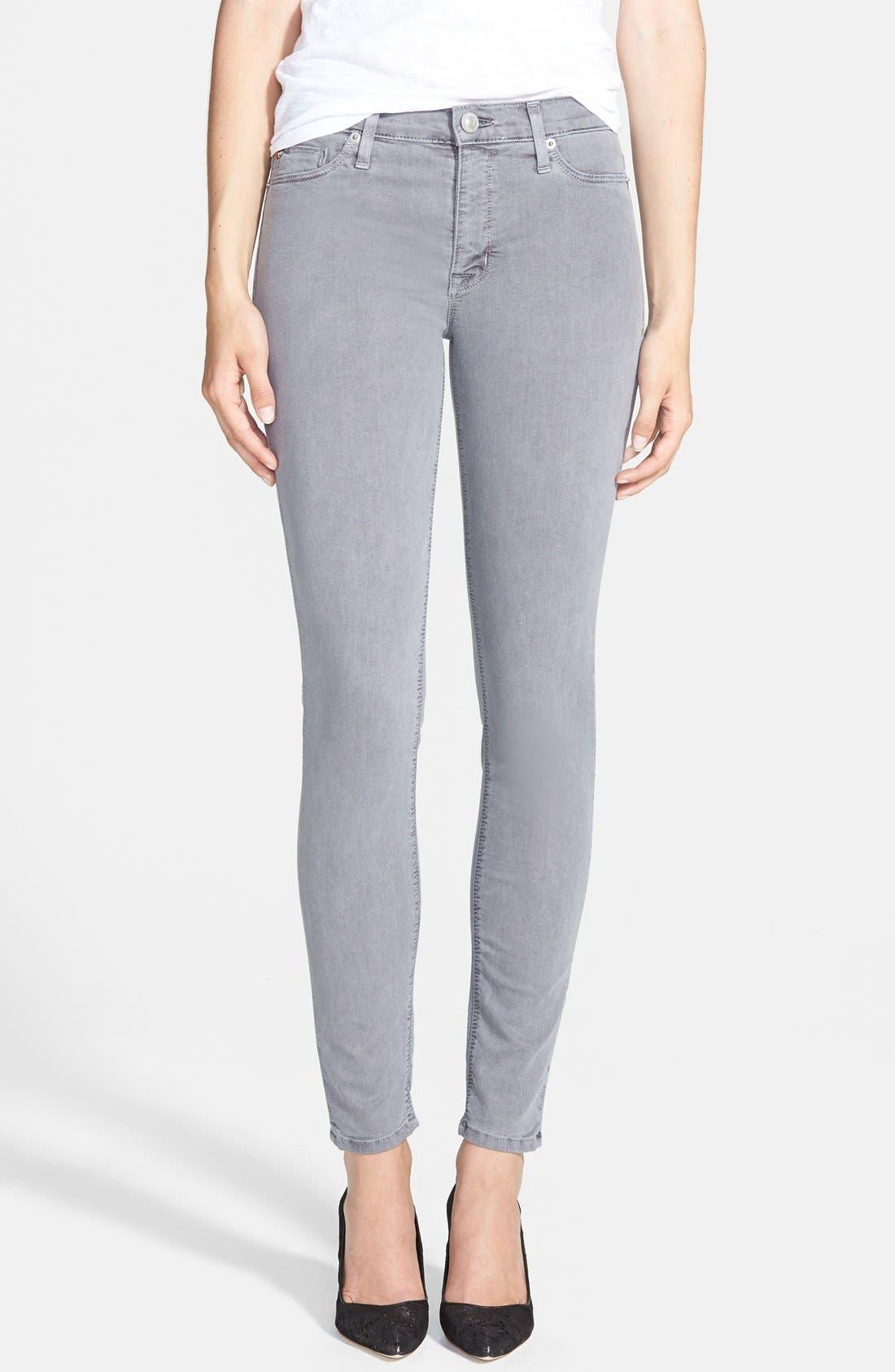 Main Image - Hudson Jeans 'Nico' Skinny Overdyed Jeans (Grey Wash)