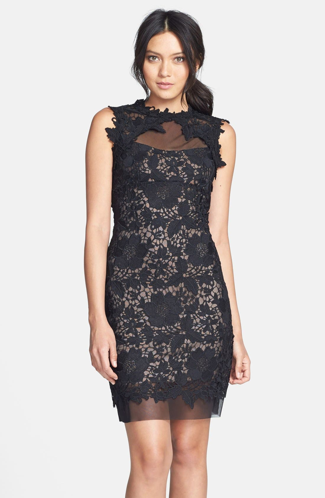 Main Image - Betsy & Adam Two-Tone Lace Sheath Dress