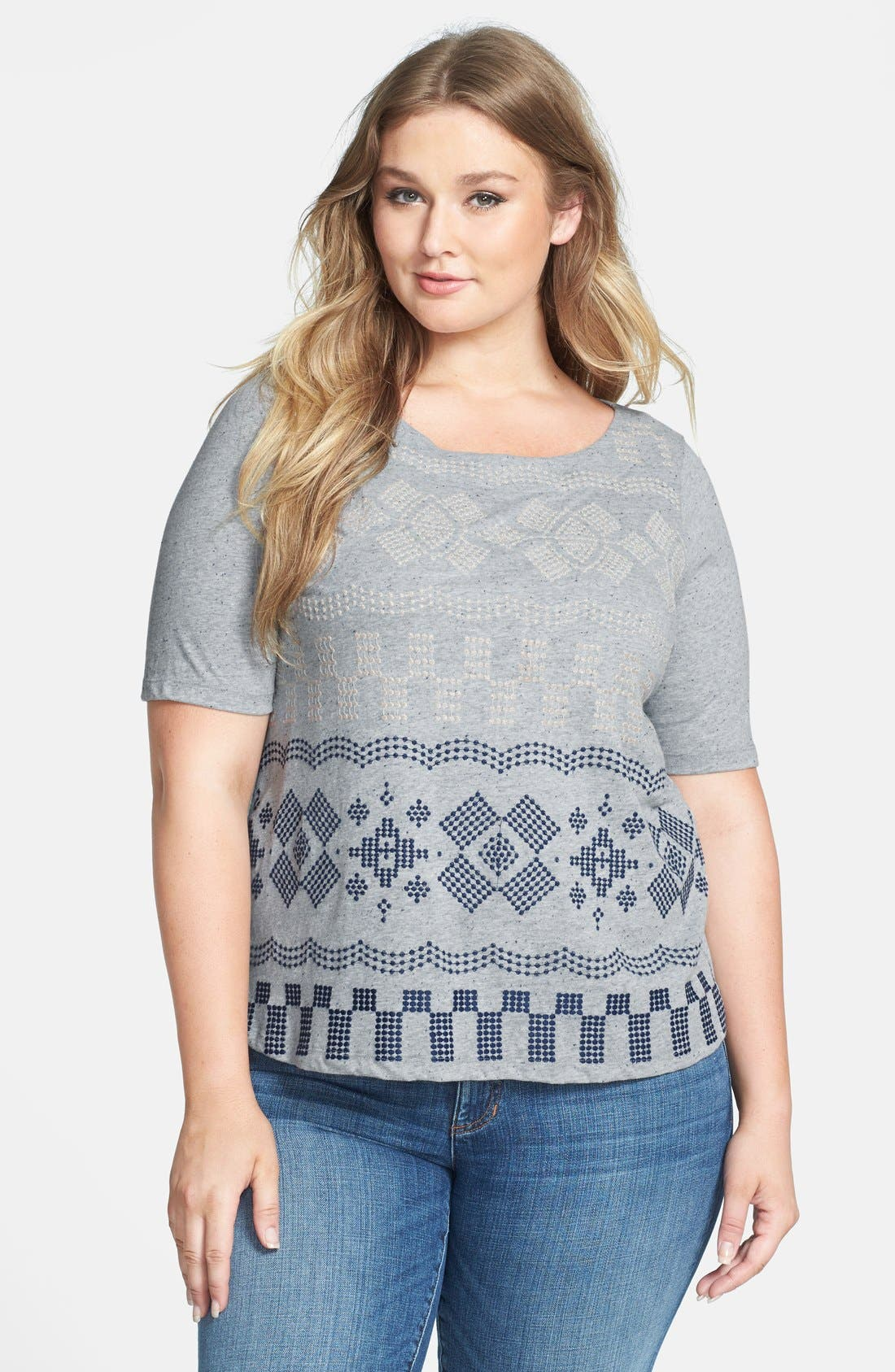 Alternate Image 1 Selected - Lucky Brand 'Faye' Embroidered Boatneck Tee (Plus Size)