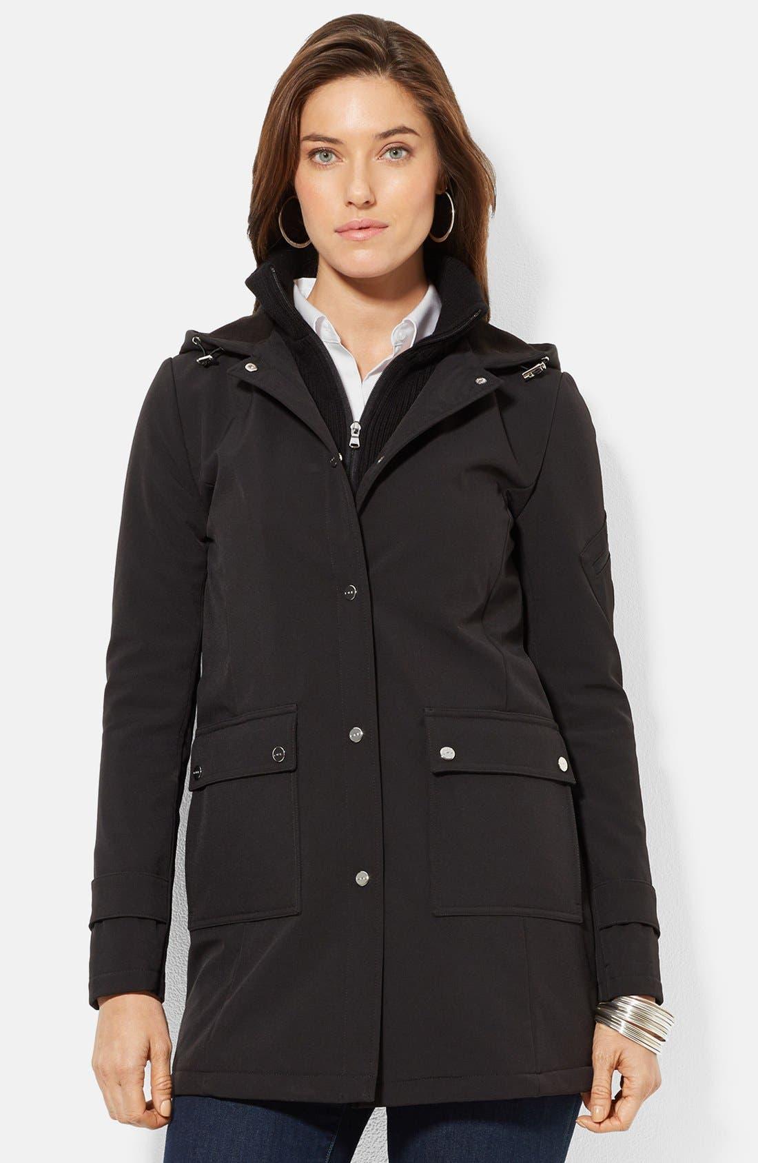 Main Image - Lauren Ralph Lauren Front Insert Hooded Soft Shell Jacket (Online Only)