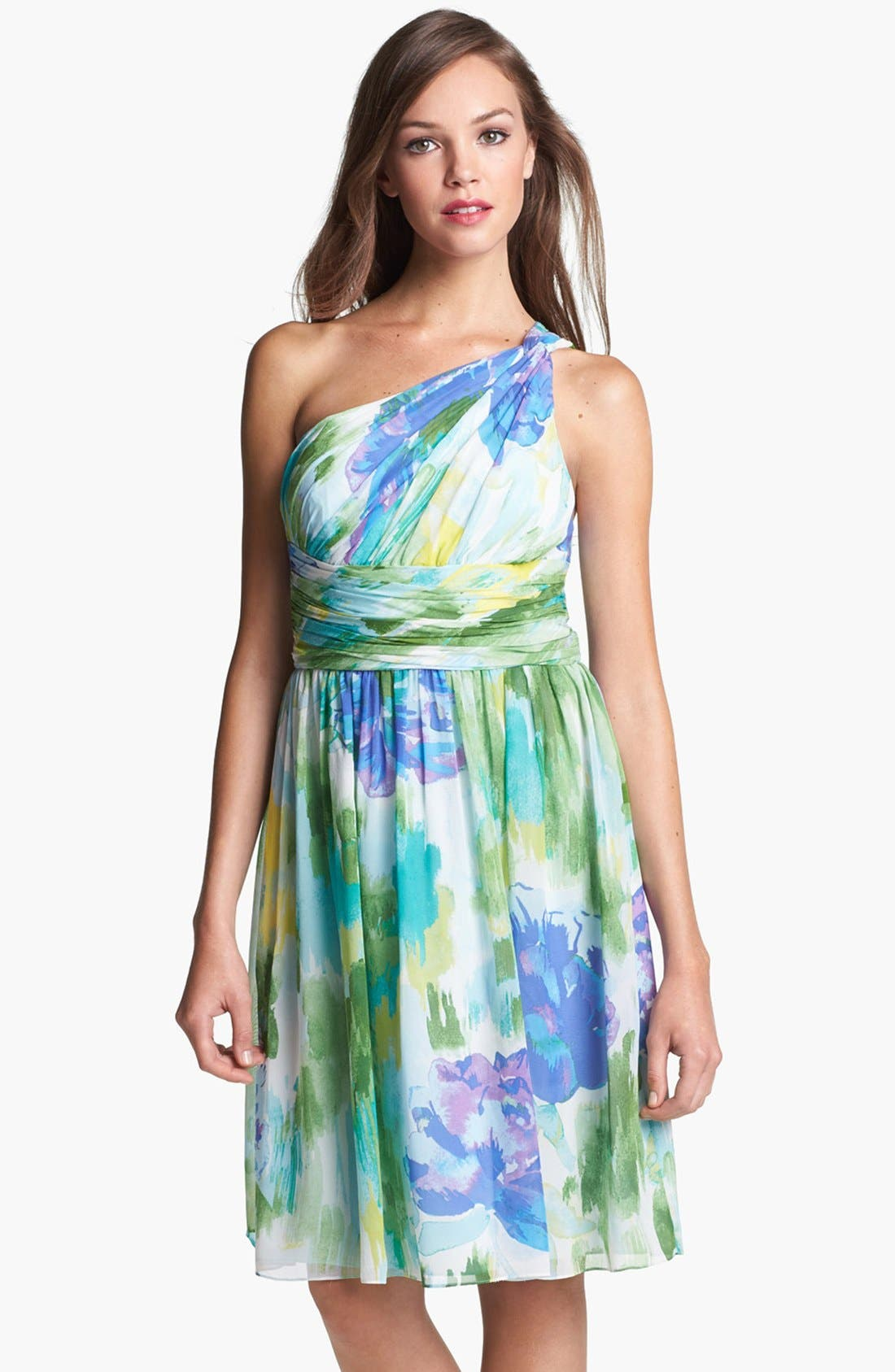 Alternate Image 1 Selected - Donna Morgan 'Rhea' One-Shoulder Print Dress (Online Only)