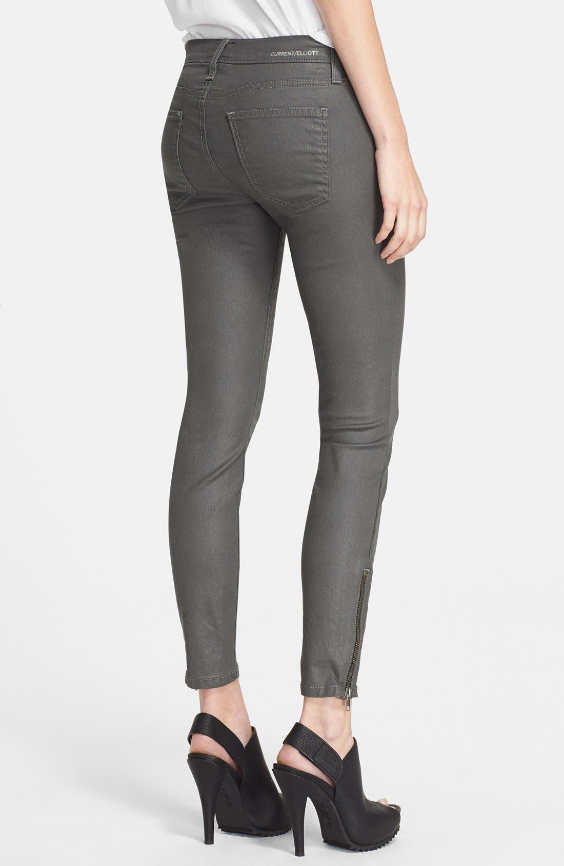 Alternate Image 2  - Current/Elliott 'The Soho Zip' Skinny Jeans (Castle Coated)