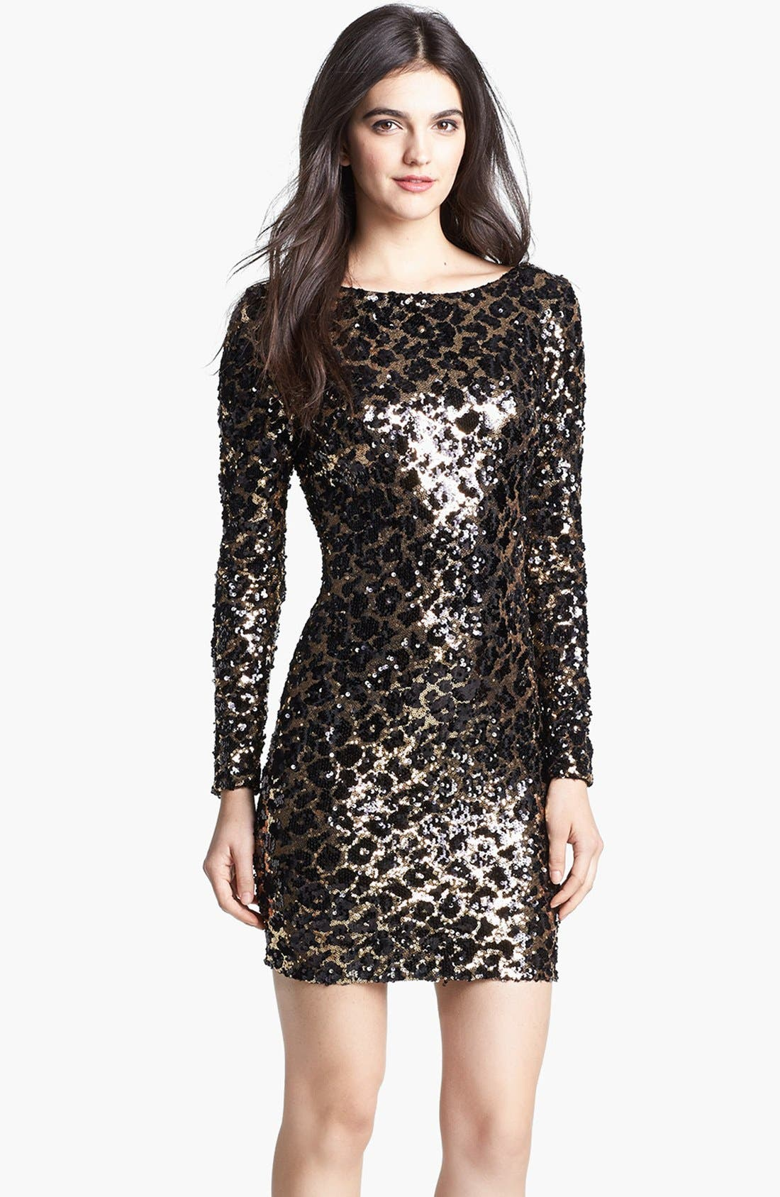 Main Image - Dress the Population 'Lola' Animal Sequin Dress