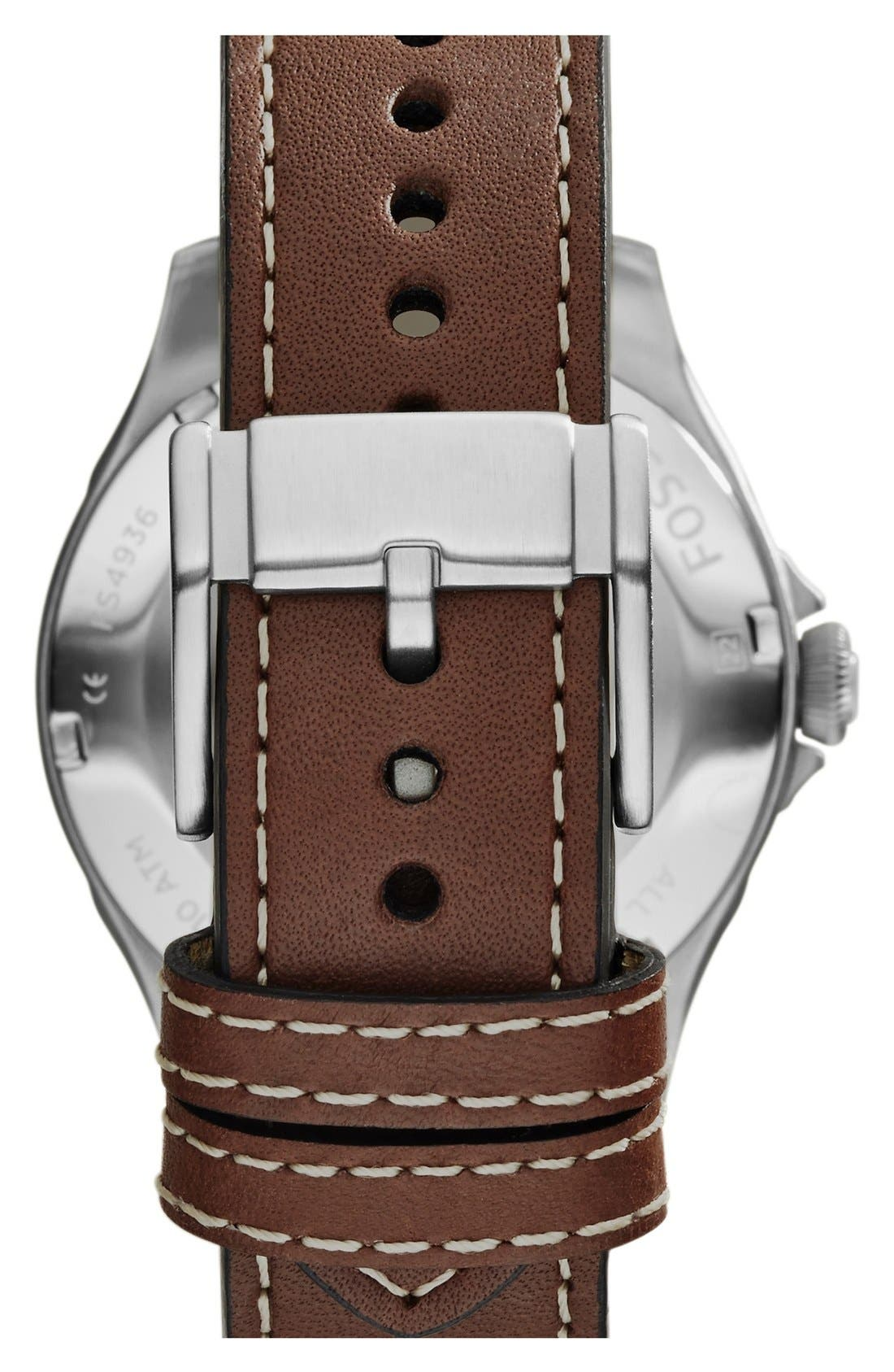 Alternate Image 3  - Fossil 'Recruiter' Leather Strap Watch, 42mm