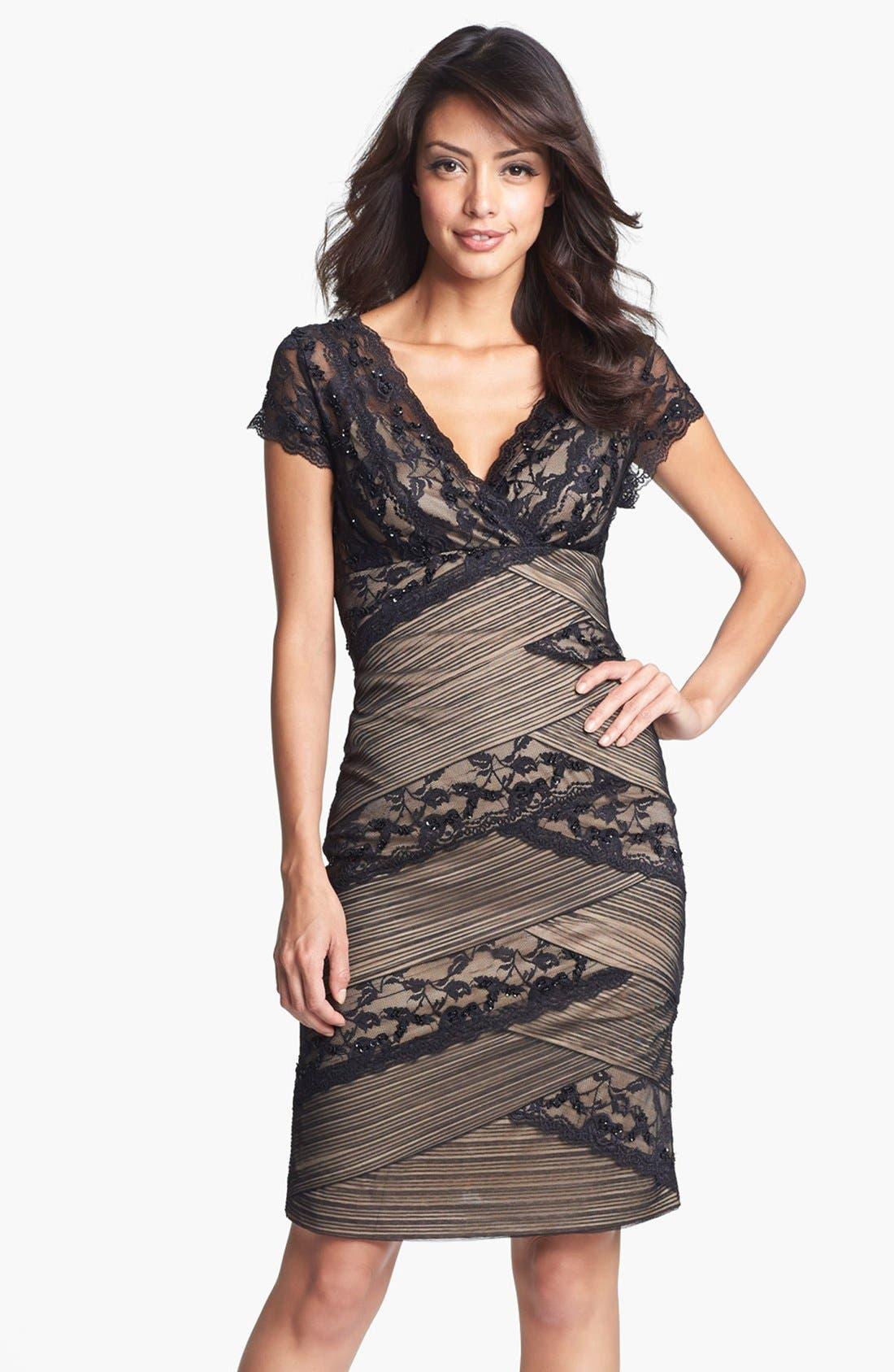 Alternate Image 1 Selected - Marina Mixed Lace Sheath Dress (Regular & Petite)