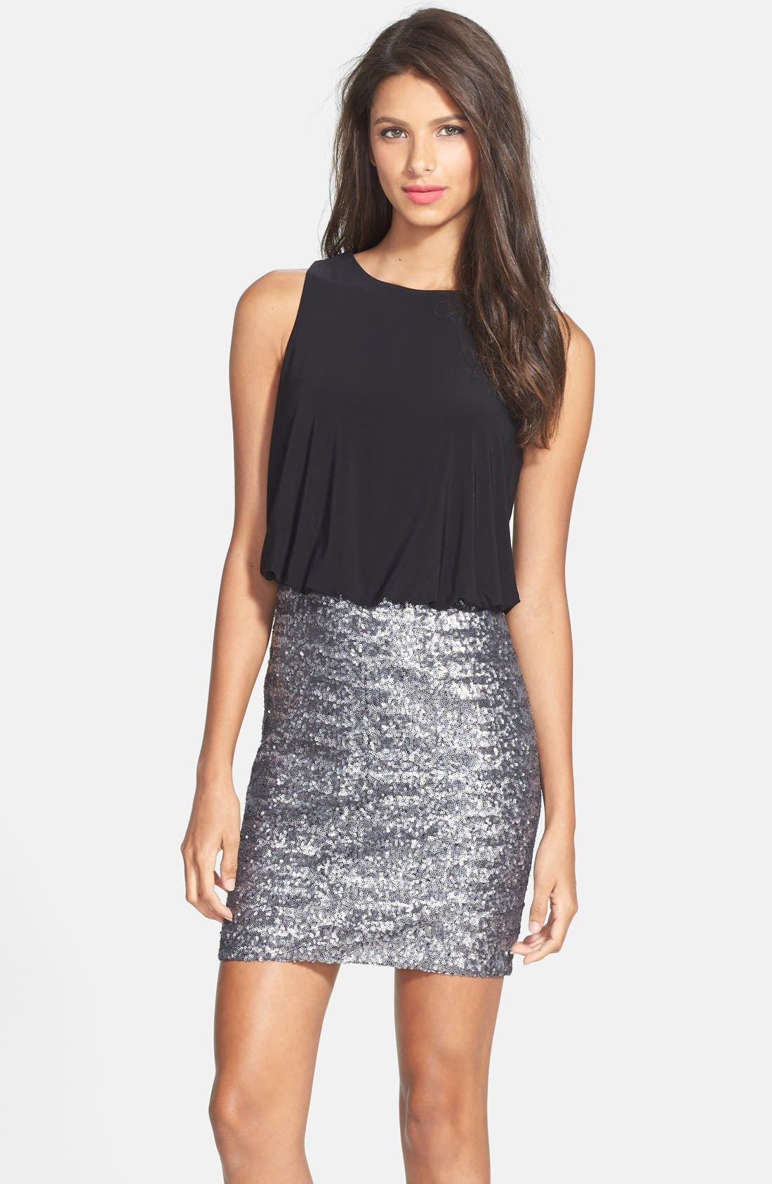 Main Image - Aidan by Aidan Mattox Cutout Sequin Blouson Dress