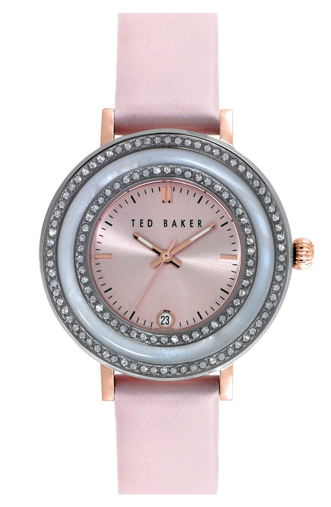 Main Image - Ted Baker London 'Vintage Glam' Crystal Bezel Leather Strap Watch, 38mm