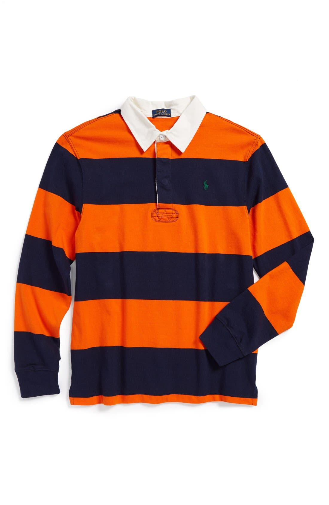 Alternate Image 1 Selected - Ralph Lauren Rugby Stripe Long Sleeve Polo (Toddler Boys)